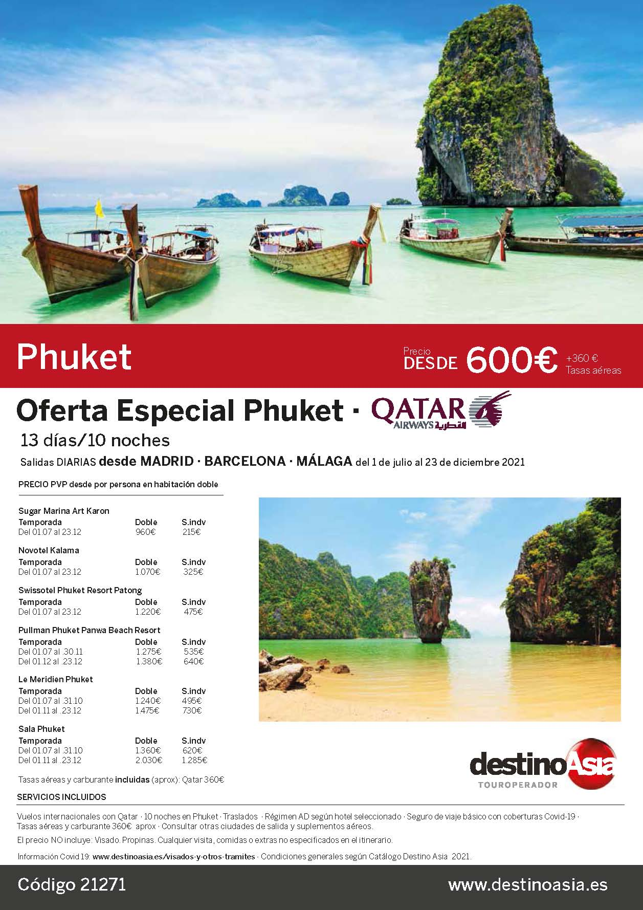 Oferta Destino Asia vacaciones en Phuket Verano y Otono 2021 salidas Madrid Barcelona Malaga