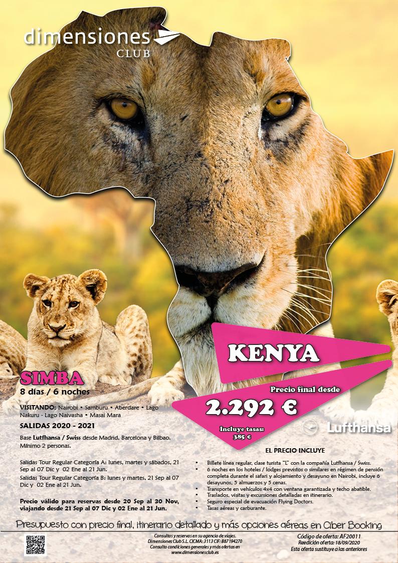 Oferta Dimensiones Club Kenia Safari Simba Otono 2020 e Invierno y Primavera 2021
