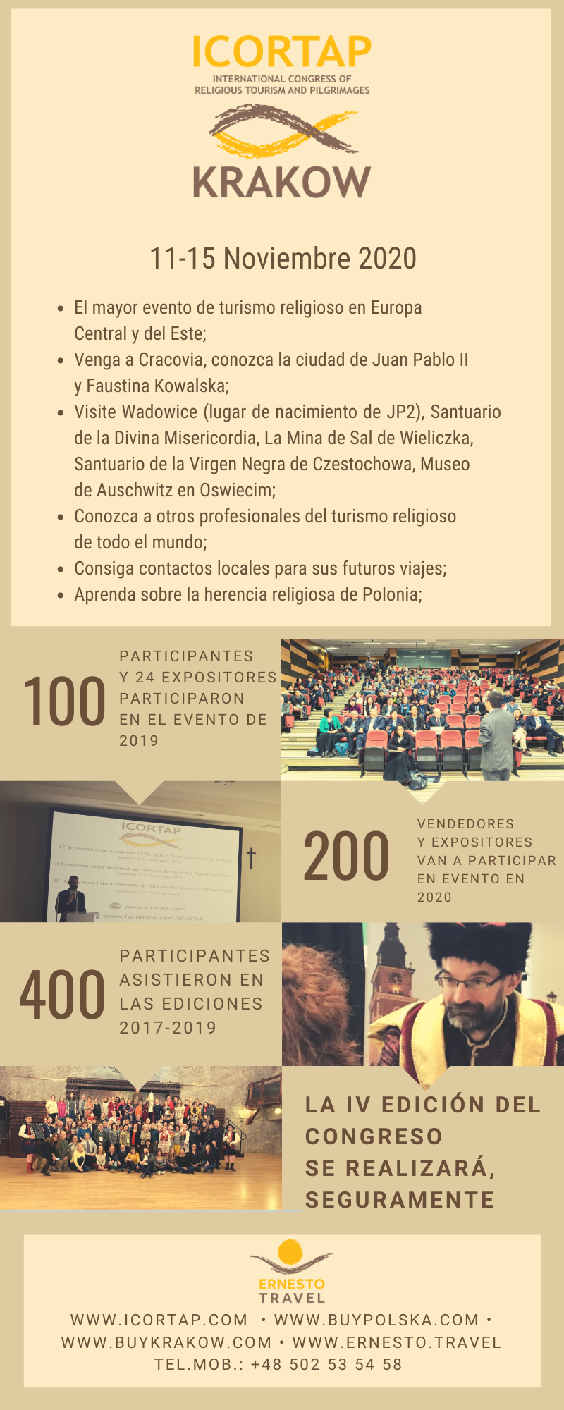 Oferta Ernesto Travel Congreso religioso Polonia Noviembre 2020