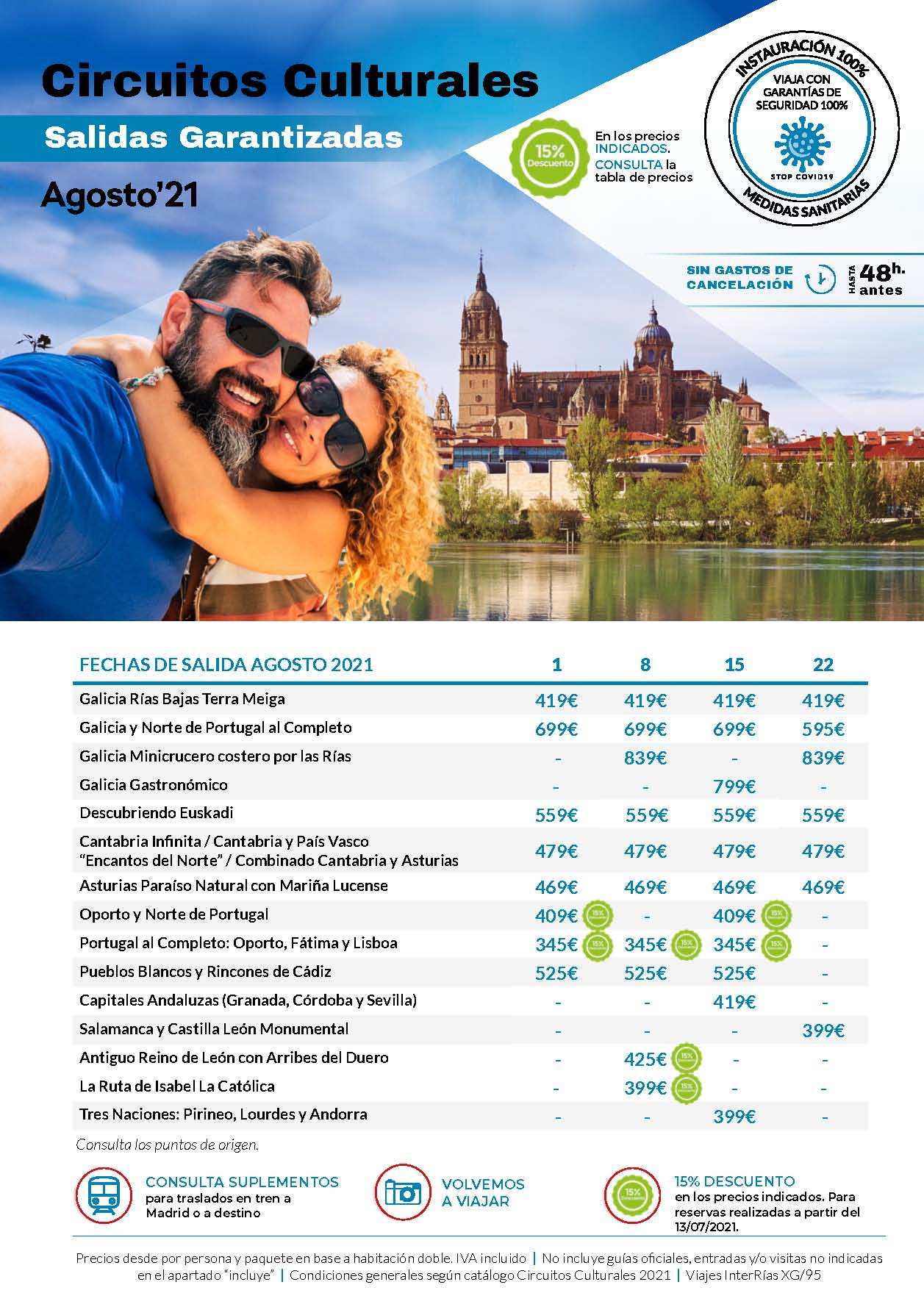 Oferta Interrias Circuitos Culturales Salidas Garantizadas Agosto 2021