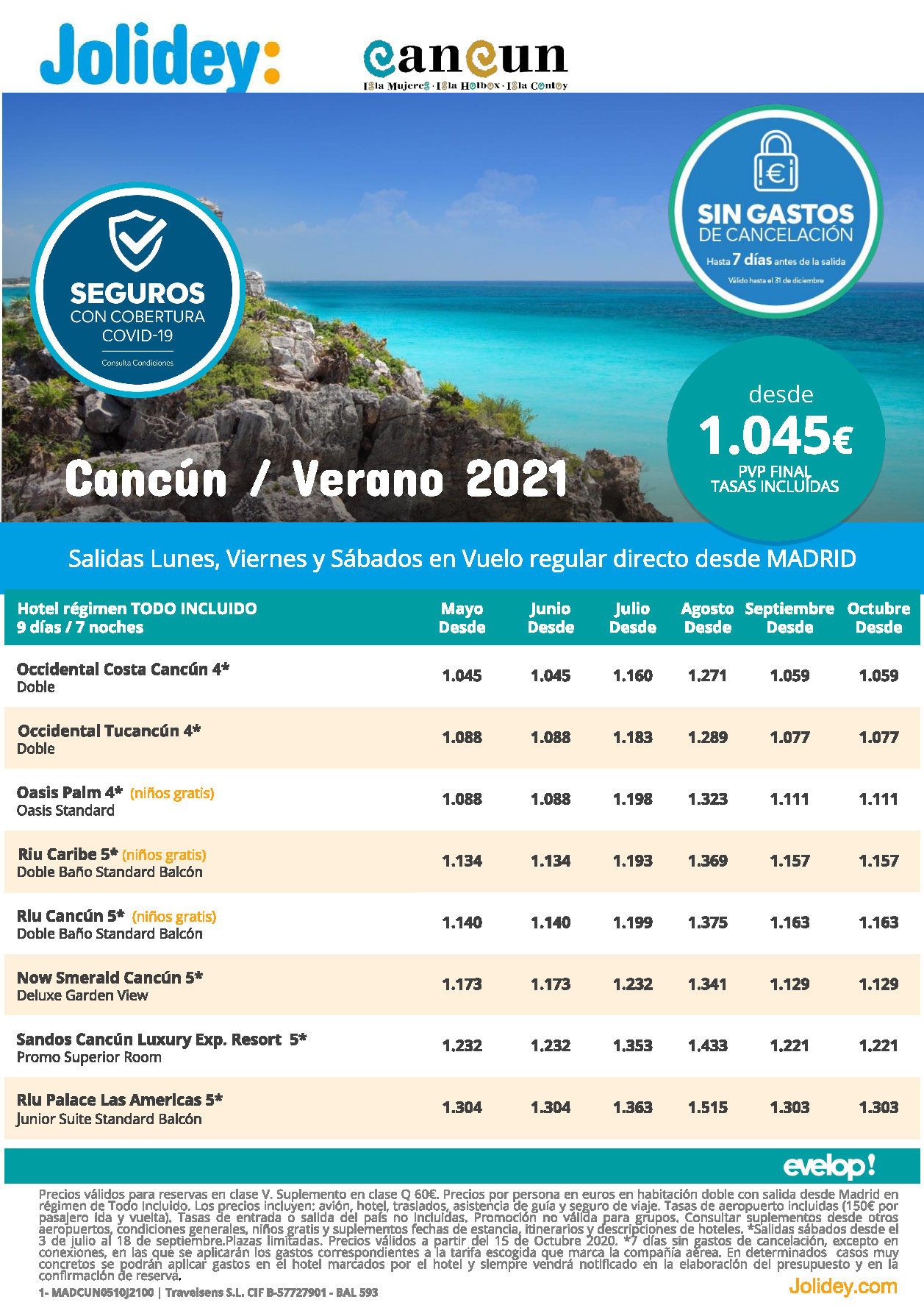 Oferta Jolidey Cancun Mexico Verano 2021 vuelo directo desde Madrid