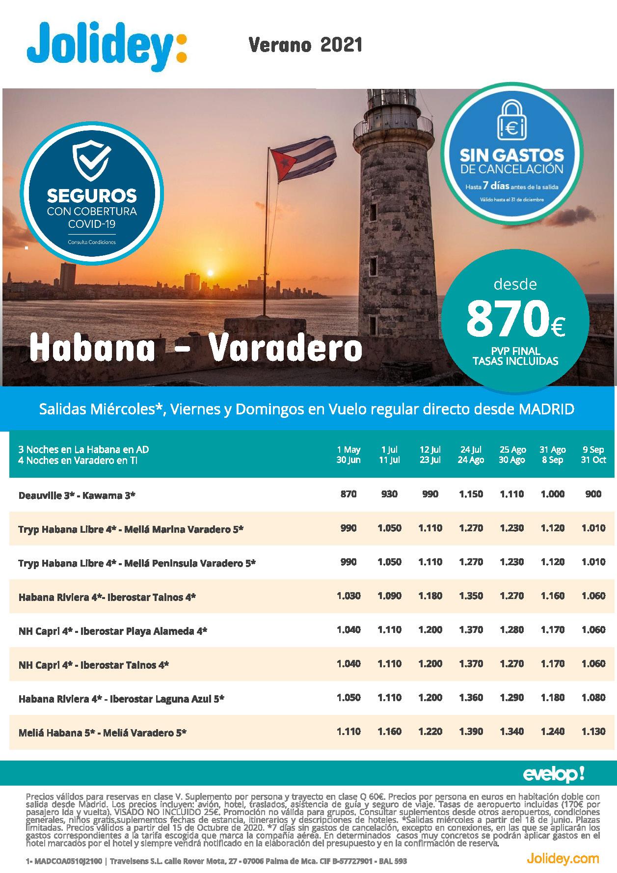 Oferta Jolidey Combinado La Habana-Varadero Cuba Verano 2021 vuelo directo desde Madrid