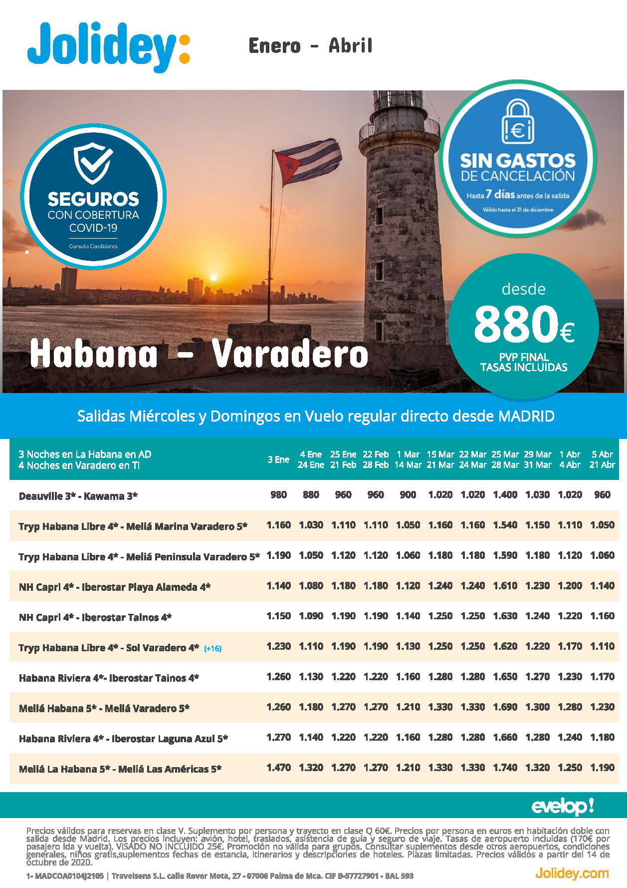 Oferta Jolidey Combinados La Habana-Varadero Enero a Abril 2021 vuelo directo desde Madrid