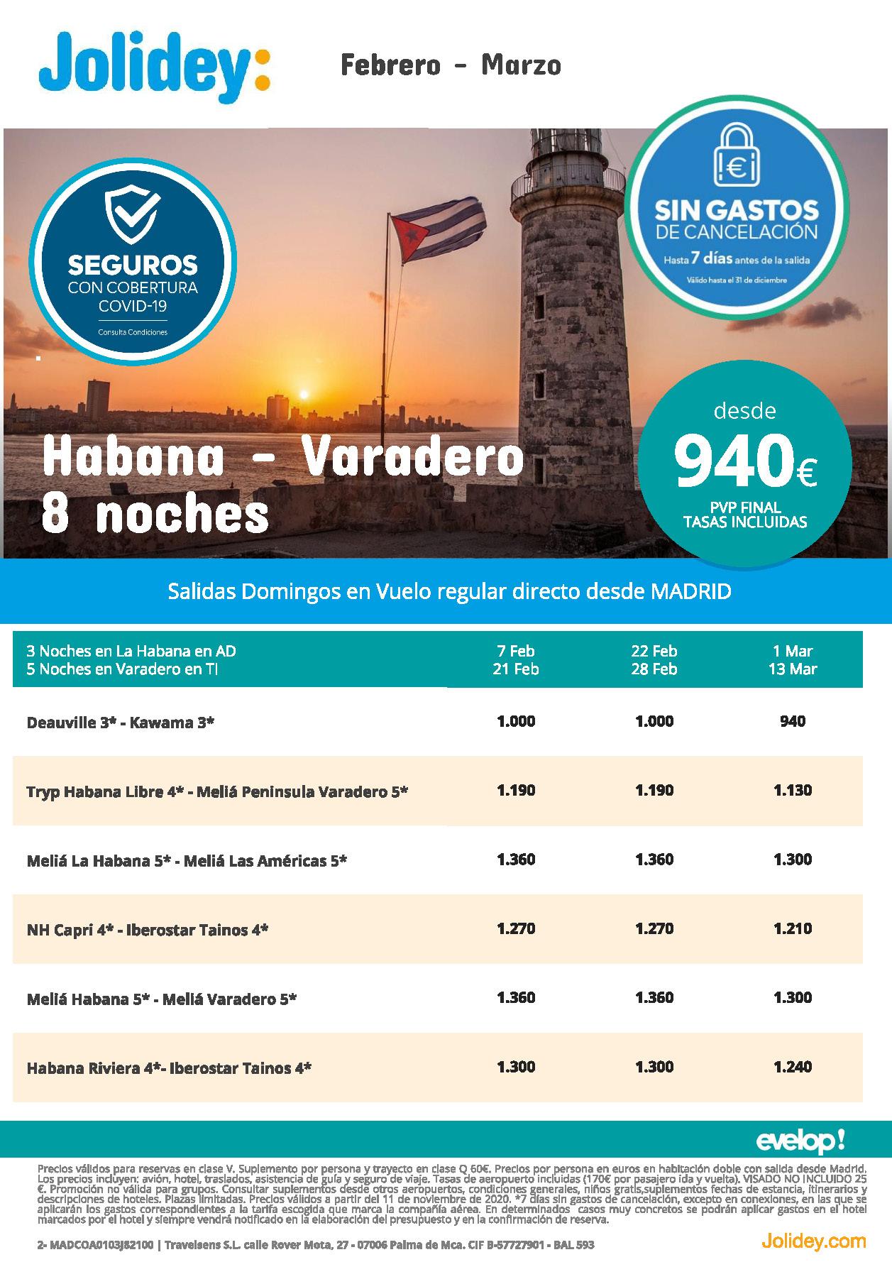 Oferta Jolidey Combinados La Habana-Varadero Febrero-Marzo 2021 vuelo directo desde Madrid
