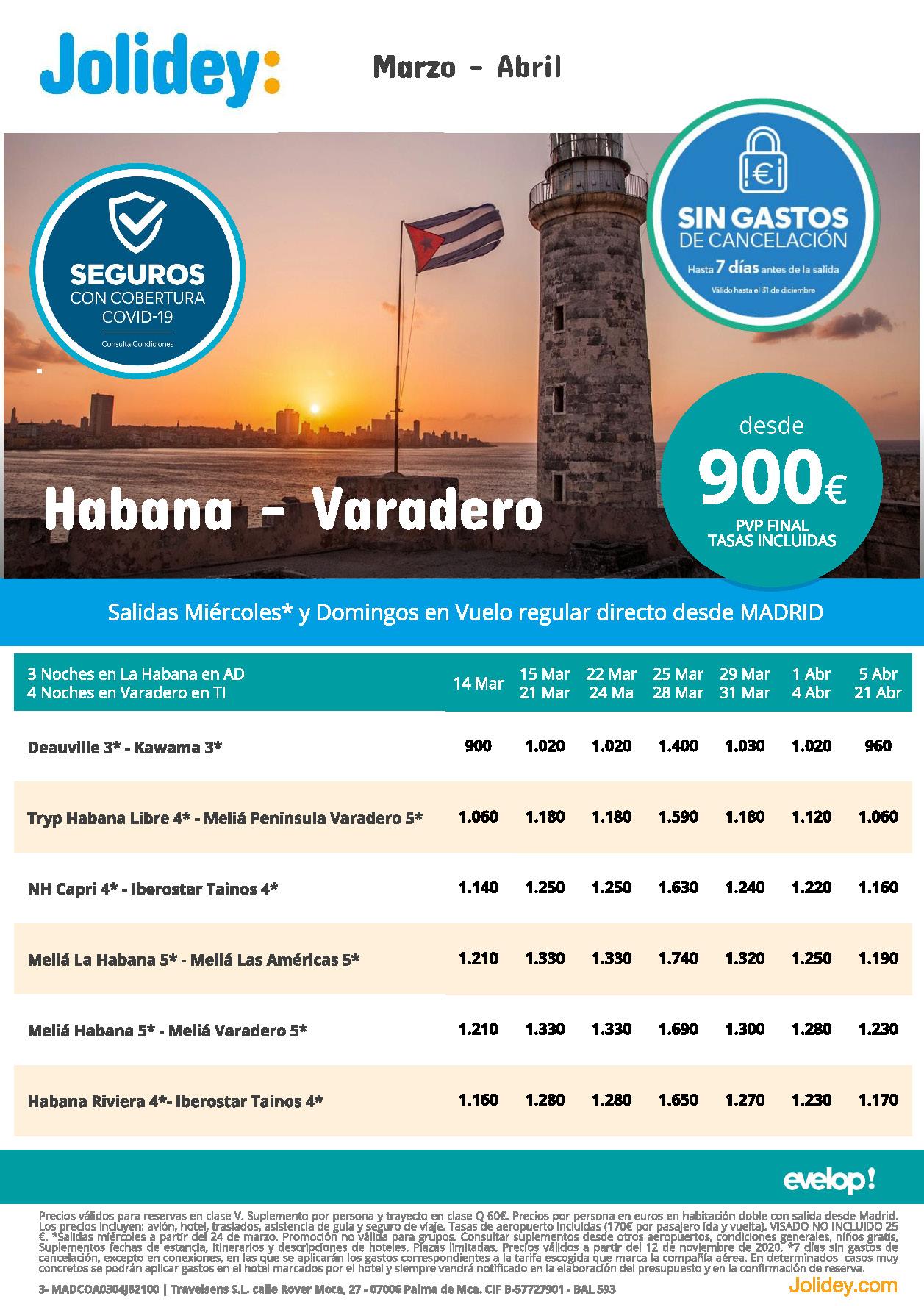 Oferta Jolidey Combinados La Habana-Varadero Marzo-Abril 2021 vuelo directo desde Madrid