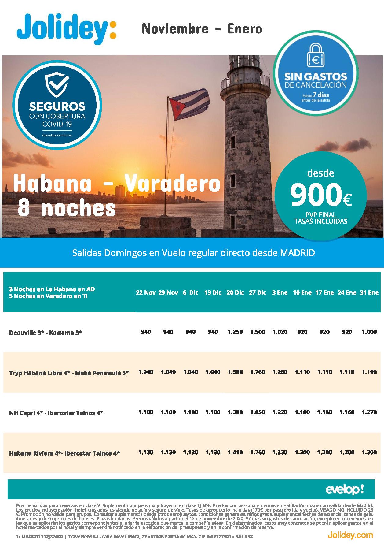 Oferta Jolidey Combinados La Habana-Varadero Noviembre-Enero 2021 vuelo directo desde Madrid