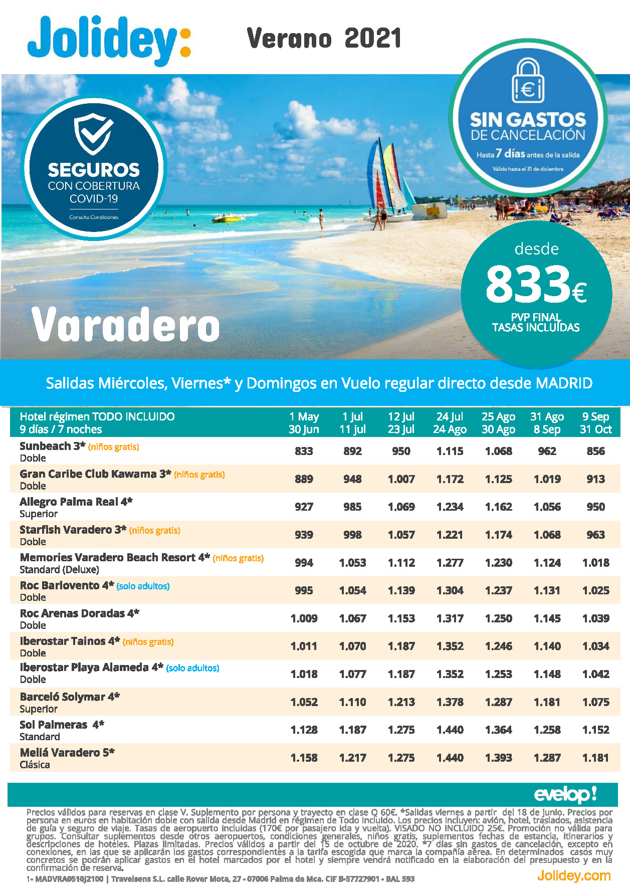 Oferta Jolidey Estancias en Varadero Cuba Verano 2021 vuelo directo desde Madrid