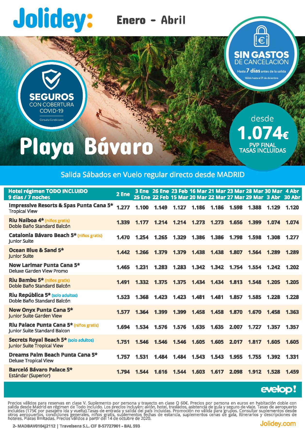 Oferta Jolidey Playa Bavaro Republica Dominicana Enero a Abril 2021 vuelo directo desde Madrid