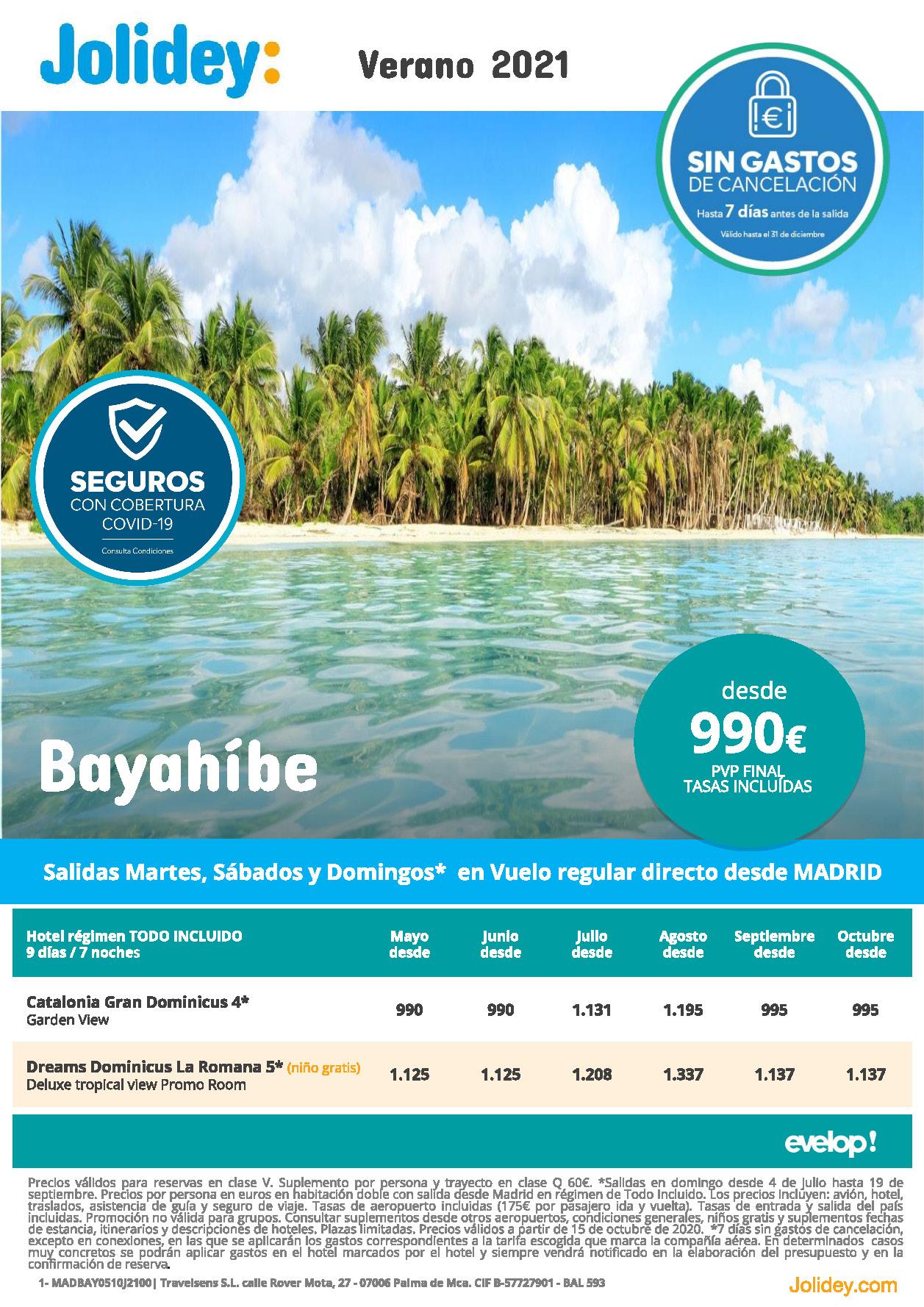 Oferta Jolidey Republica Dominicana Bayahibe Verano 2021 vuelo directo desde Madrid