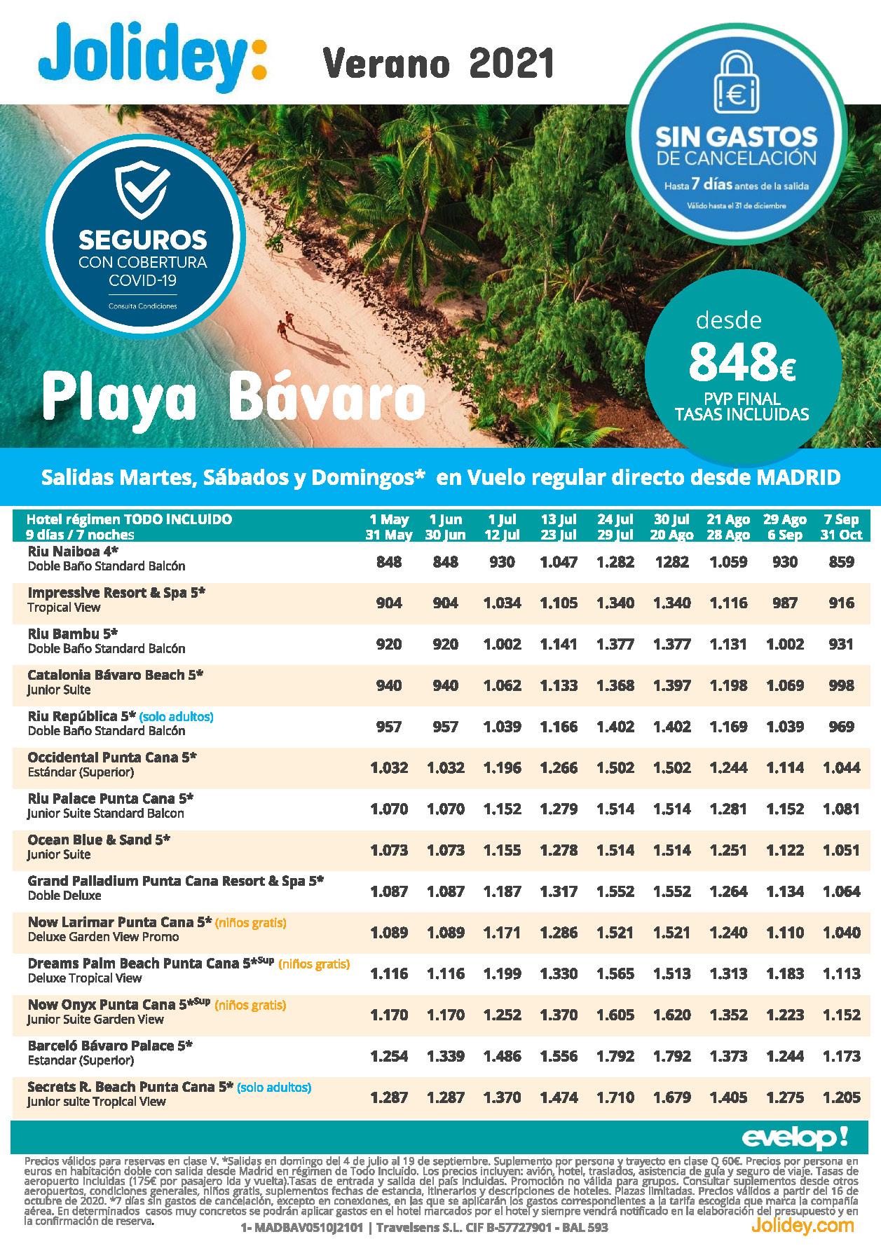Oferta Jolidey Republica Dominicana Playa Bavaro Verano 2021 vuelo directo desde Madrid