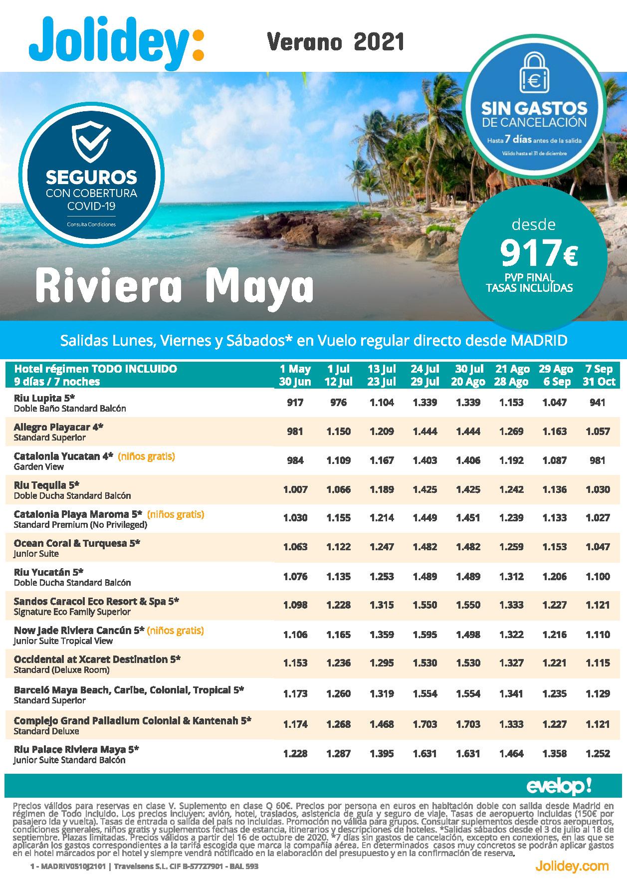 Oferta Jolidey Riviera Maya Mexico Verano 2021 vuelo directo desde Madrid