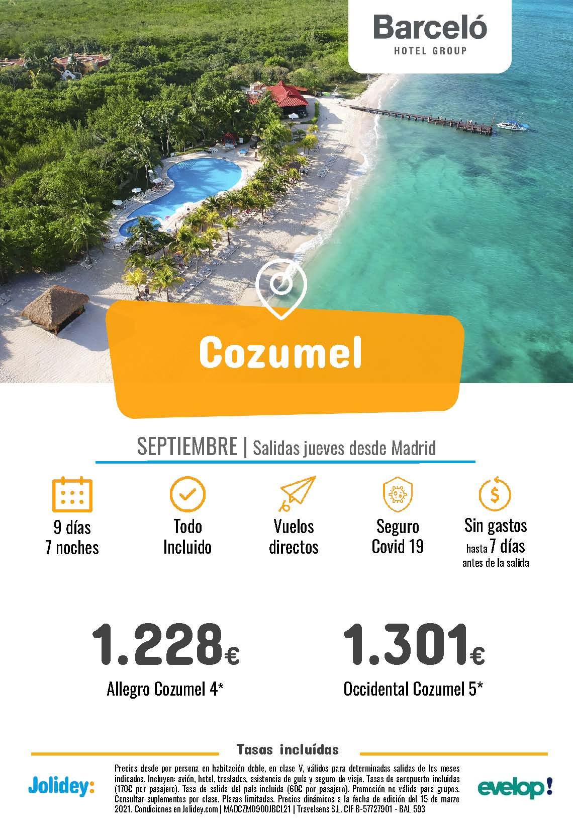 Oferta Jolidey Vacaciones en Cozumel hotel Barcelo Septiembre 2021 salida en vuelo directo desde Madrid