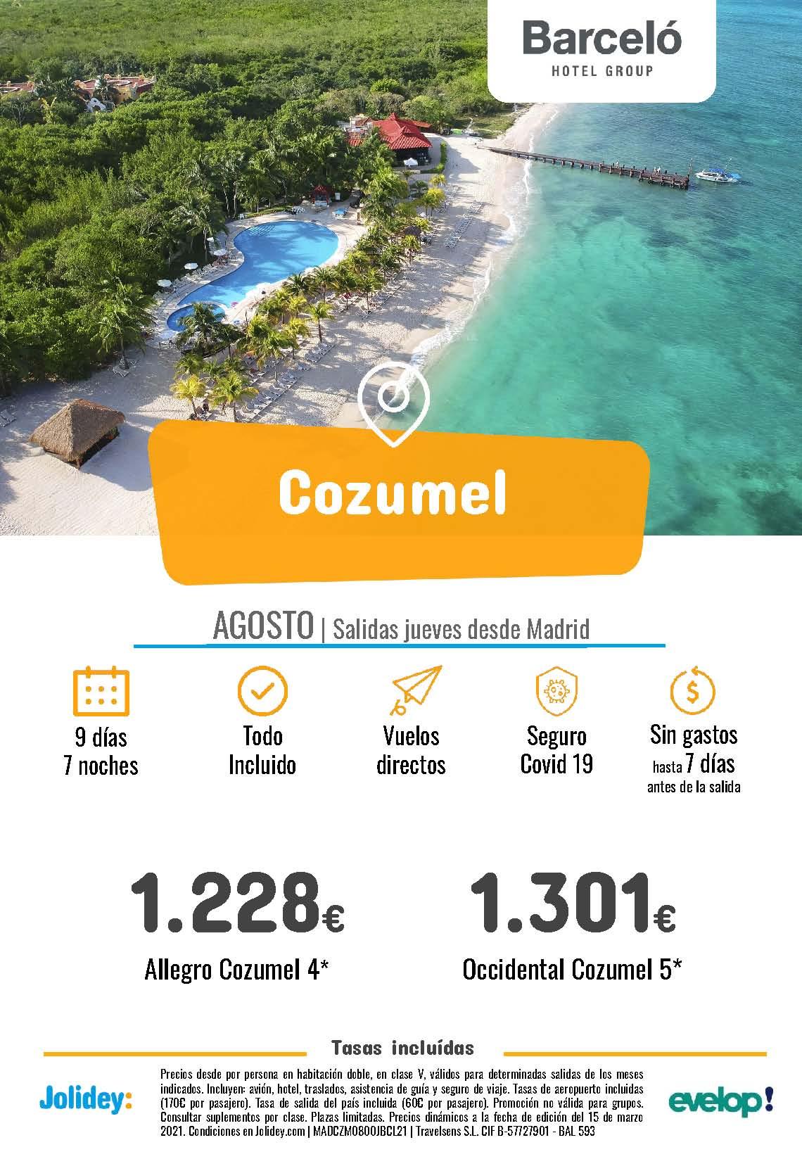 Oferta Jolidey Vacaciones en Cozumel hoteles Barcelo Agosto 2021 salida en vuelo directo desde Madrid