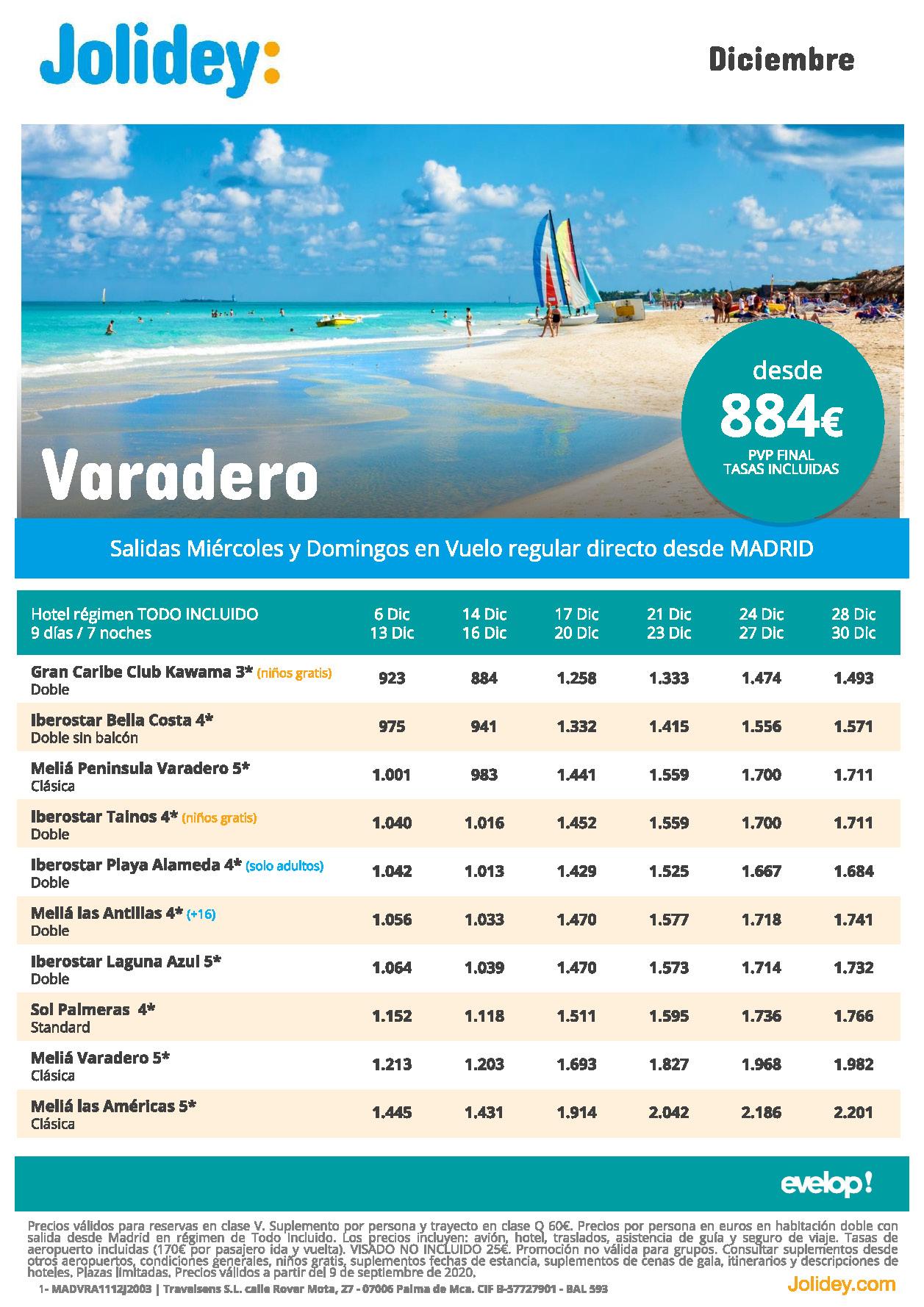 Oferta Jolidey Varadero Diciembre 2020 vuelo directo desde Madrid