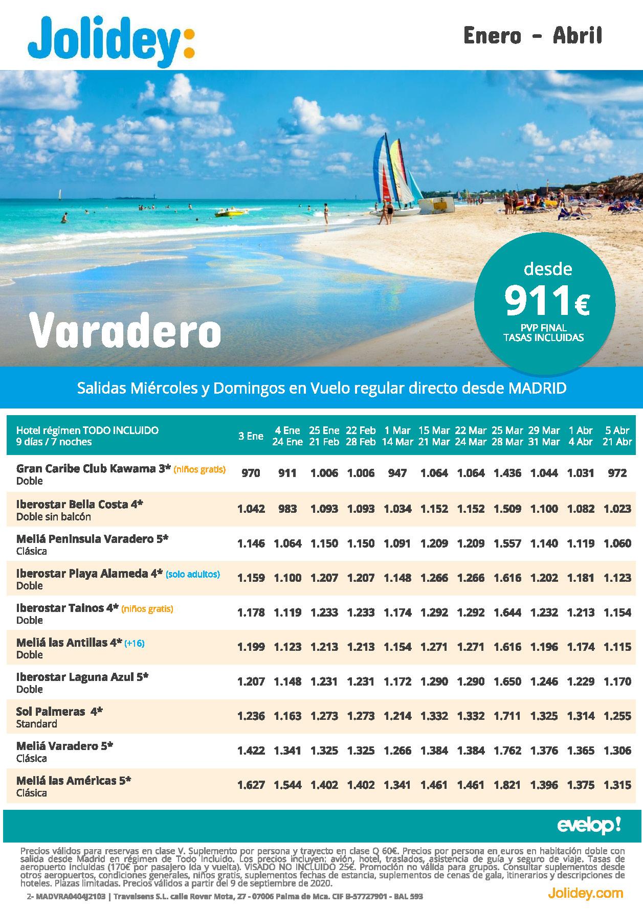 Oferta Jolidey Varadero Enero a Abril 2021 vuelo directo desde Madrid