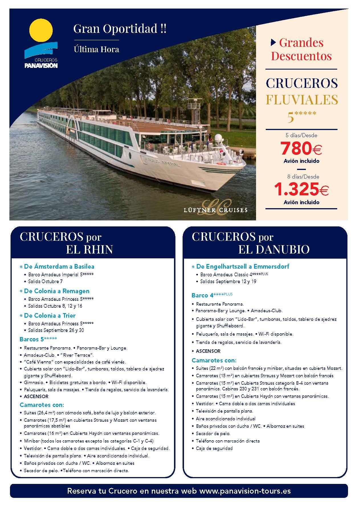 Oferta Panavision Tours Cruceros Fluviales por el Rhin y el Danubio ultima hora Septiembre y Octubre 2021