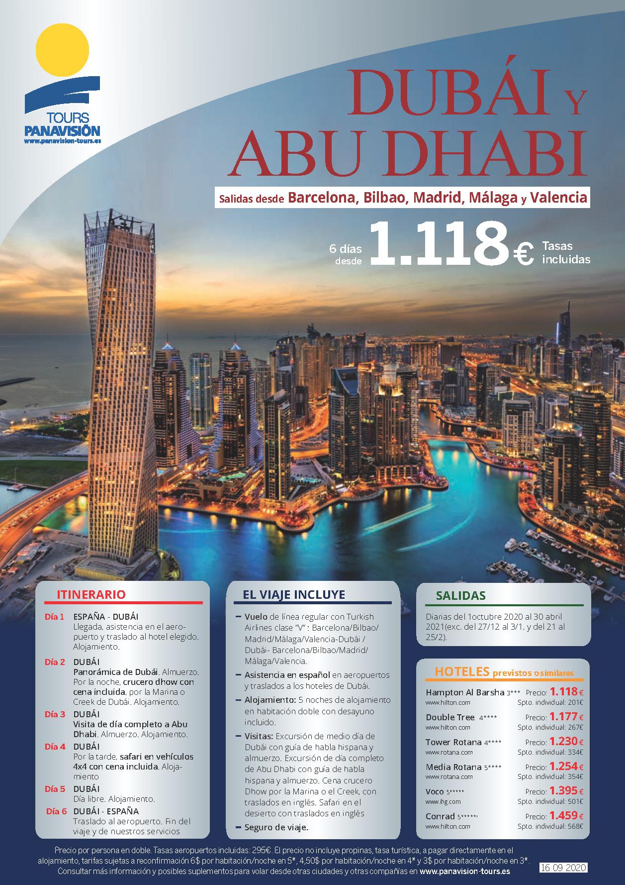 Oferta Panavision Tours Dubai y Abu Dhabi Otono 2020 e Invierno 2021 salidas Madrid Barcelona Bilbao Malaga y Valencia