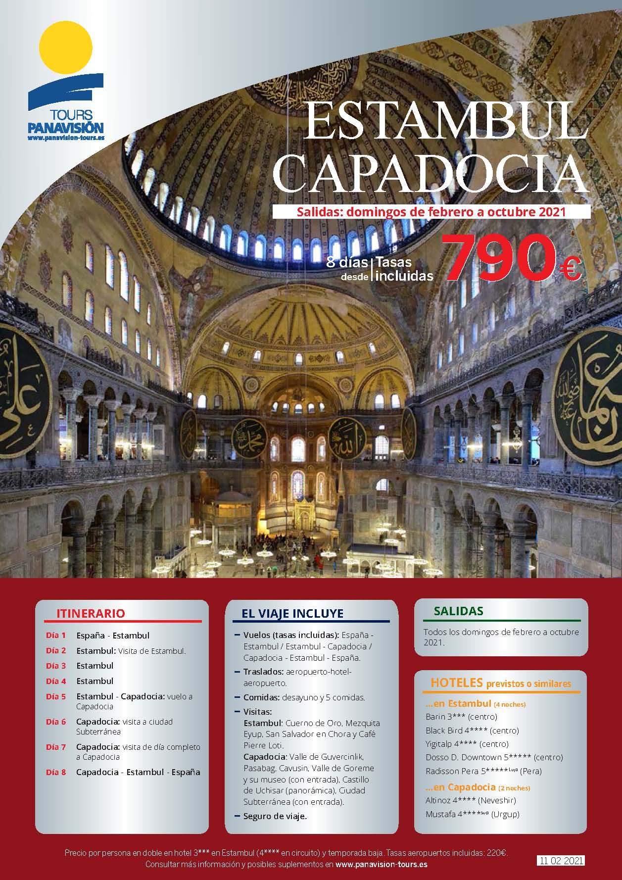 Oferta Panavision Tours Estambul y Capadocia en avion Febrero a Octubre 2021