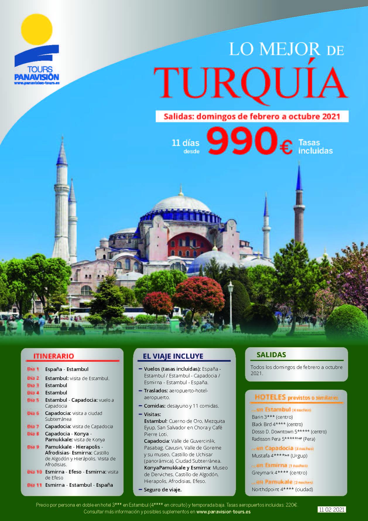 Oferta Panavision Tours Lo Mejor de Turquia en avion 11 dias Febrero a Octubre 2021