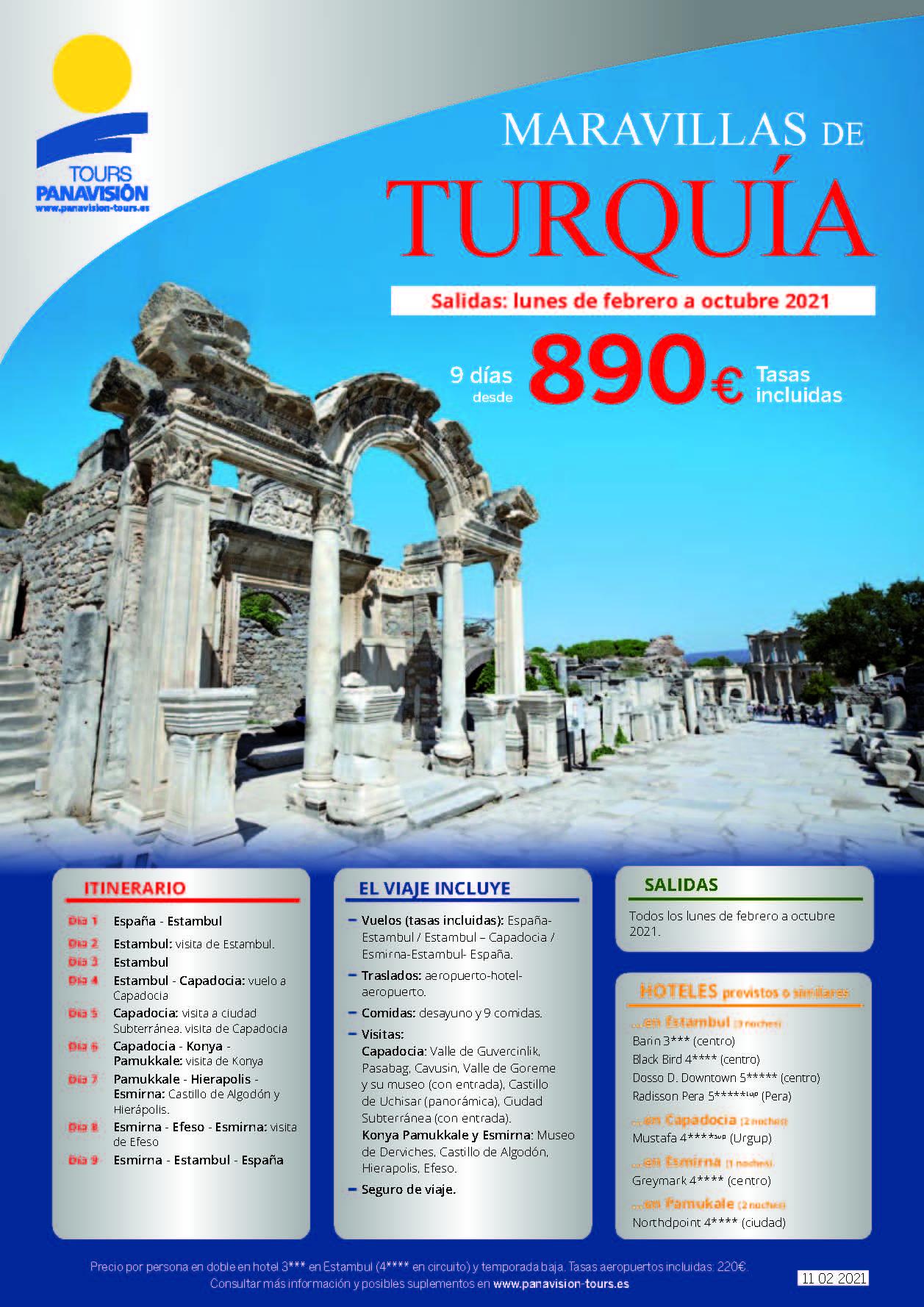 Oferta Panavision Tours Maravillas de Turquia en avion Febrero a Octubre 2021