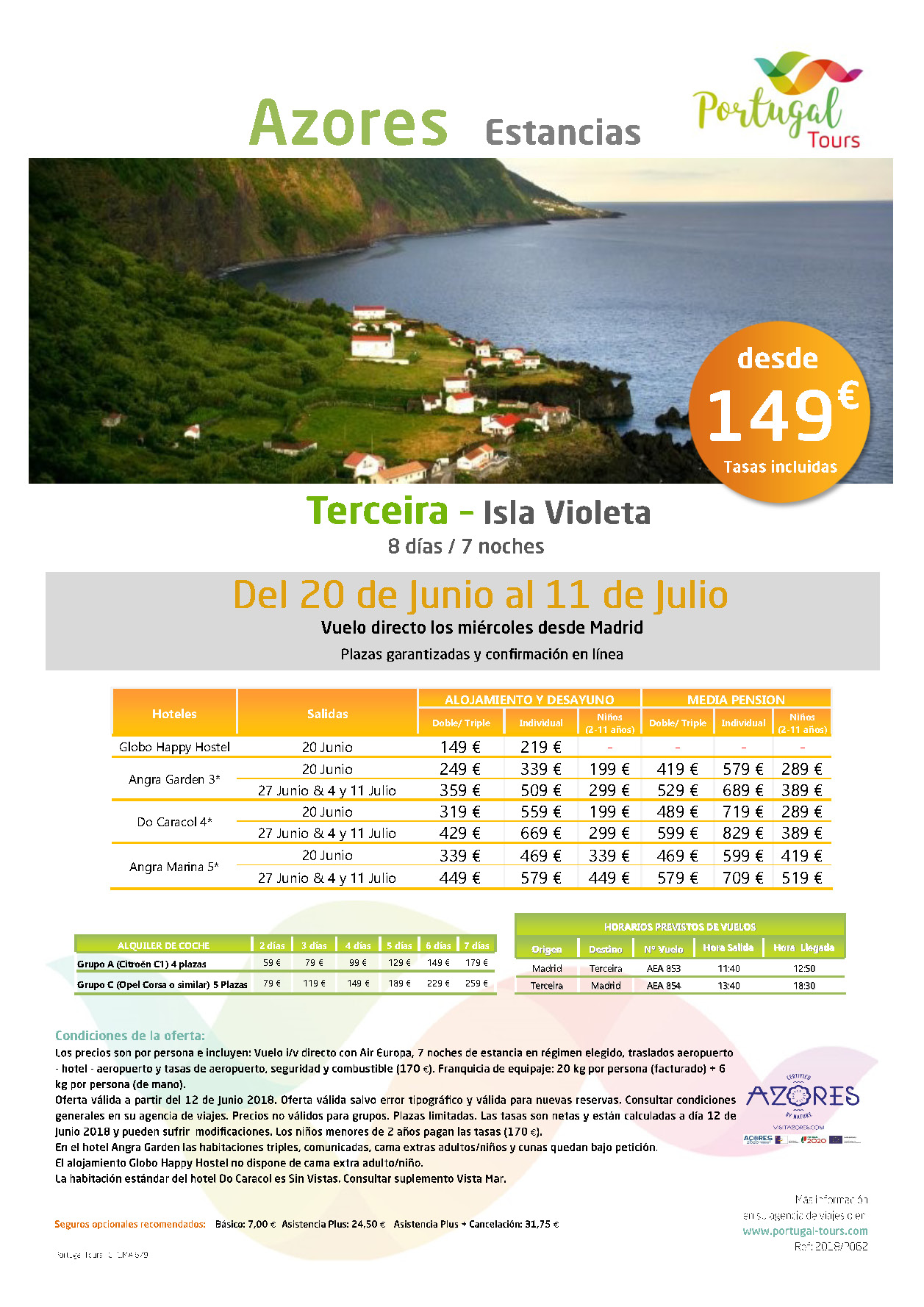 Oferta Portugal Tours Azores junio-julio 2018