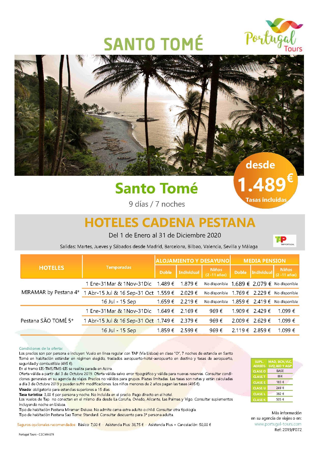 Oferta Portugal Tours Estancias en Santo Tome 2020