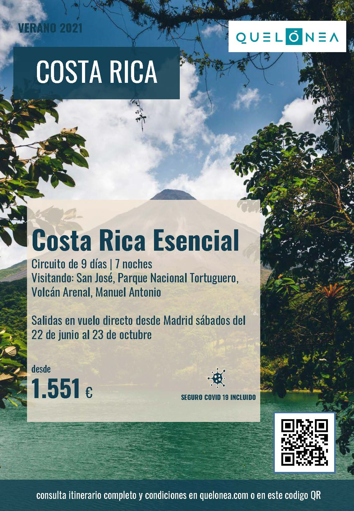 Oferta Quelonea Costa Rica Esencial Verano 2021 vuelo directo desde Madrid