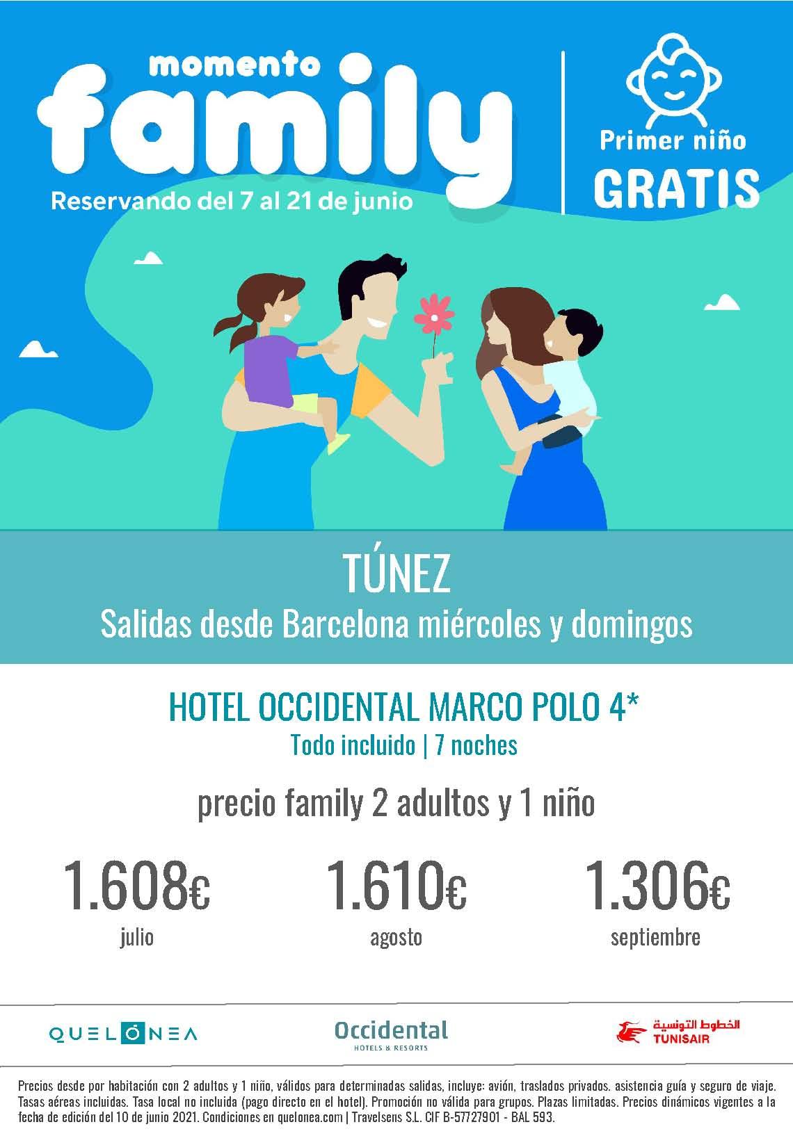 Oferta Quelonea Familias Niños Gratis Tunez Verano 2021 salidas desde Barcelona