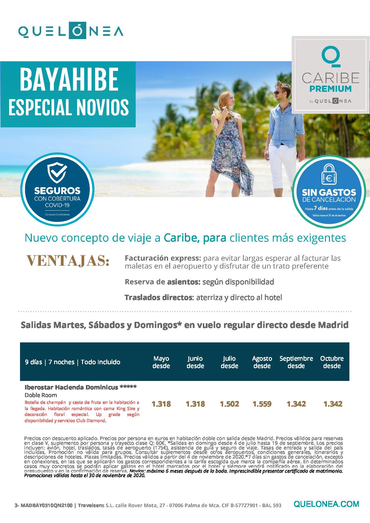 Oferta Quelonea Novios Caribe Premium Bayahibe Novios Verano 2021 vuelo directo desde Madrid