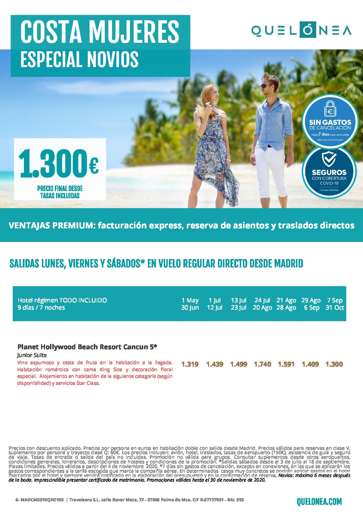 Oferta Quelonea Novios Costa Mujeres Mexico Verano 2021 vuelo directo desde Madrid