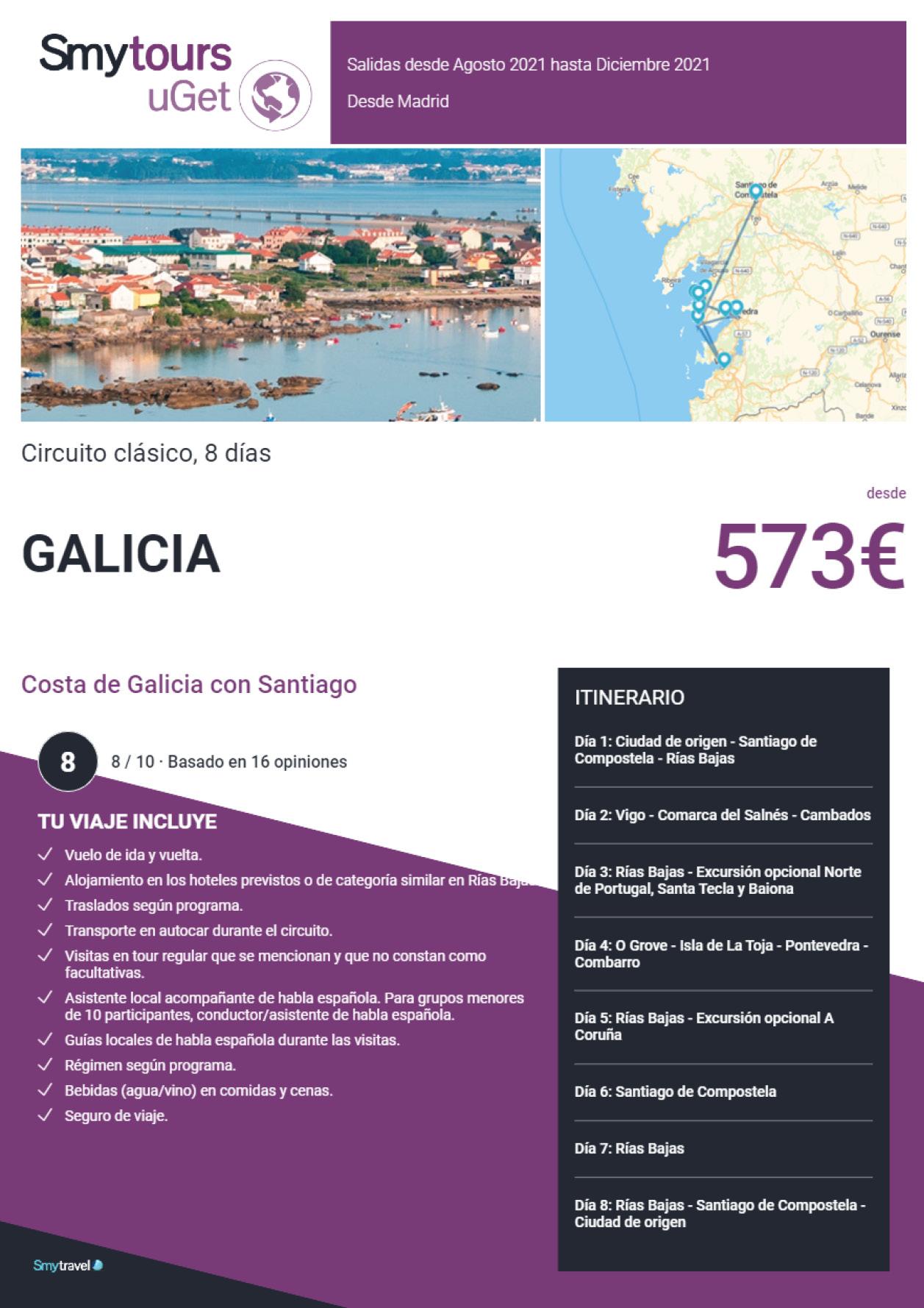 Oferta Smytravel Circuito Costa de Galicia con Santiago 8 dias salidas Madrid desde 573 €