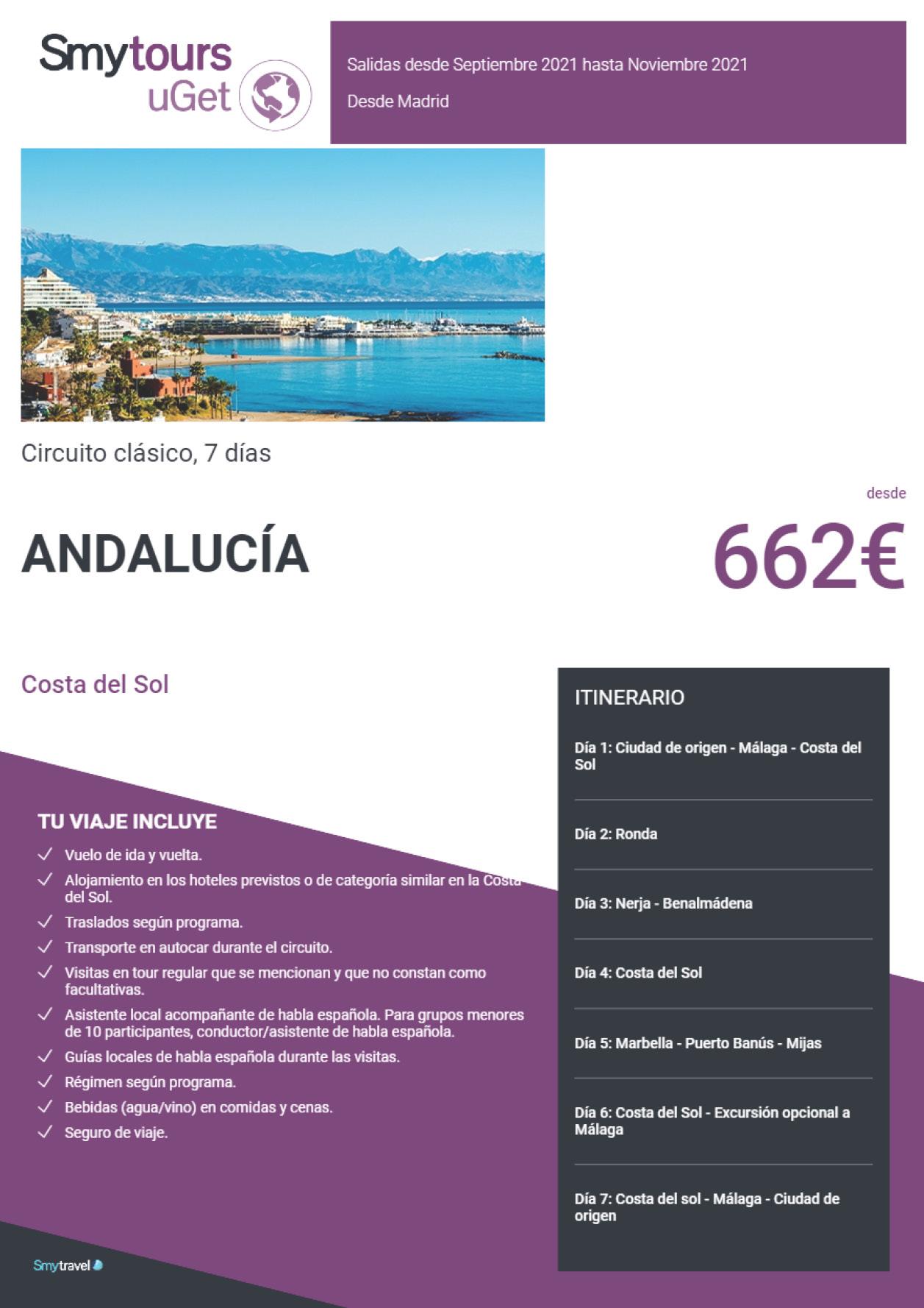 Oferta Smytravel Circuito Costa del Sol 7 dias salidas Madrid desde 662 €