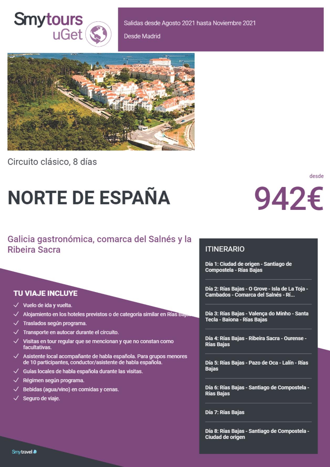 Oferta Smytravel Circuito Galicia Gastronomica Costa del Salnes y la Ribera Sacra 8 dias salidas Madrid desde 942 €