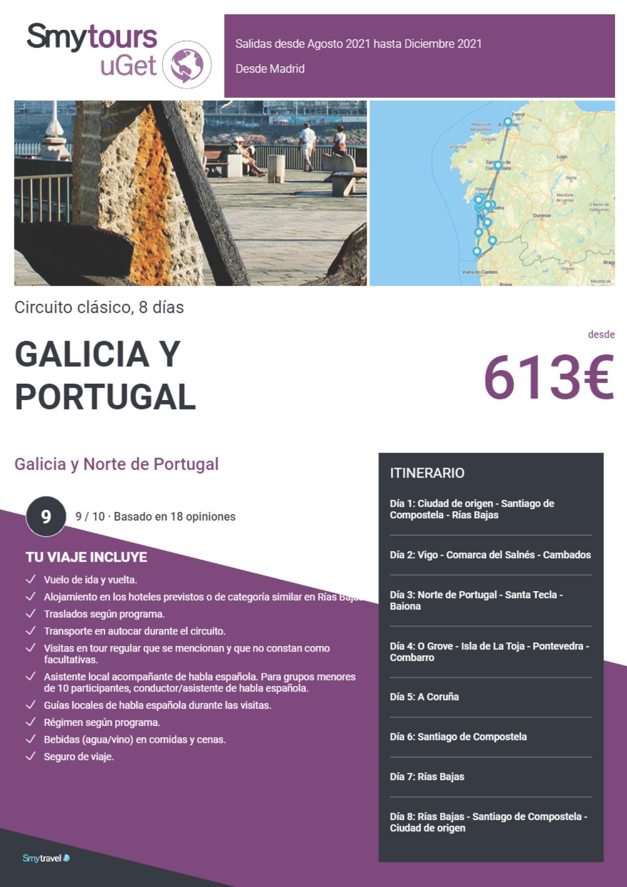 Oferta Smytravel Circuito Galicia y Norte de Portugal 8 dias salidas Madrid desde 613 €