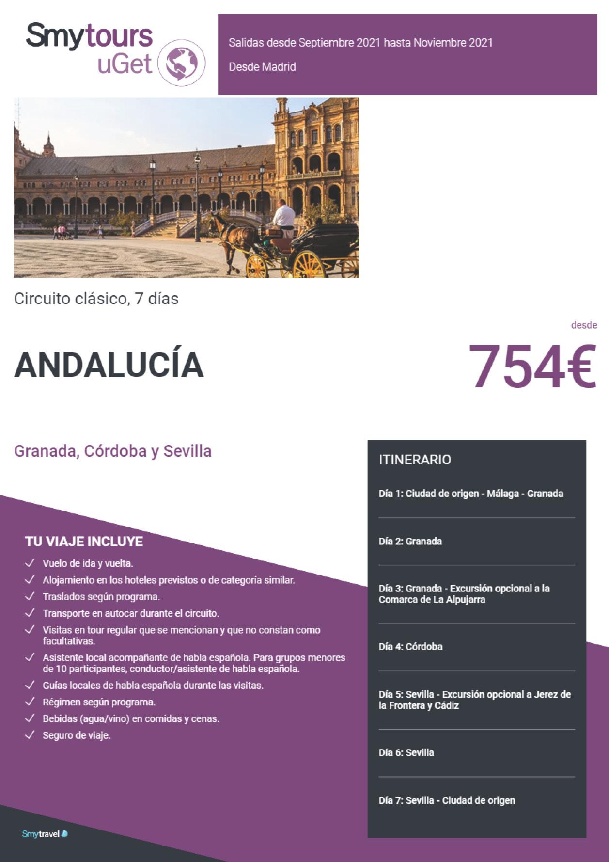 Oferta Smytravel Circuito Granada Cordoba y Sevilla 7 dias salidas Madrid desde 754 €