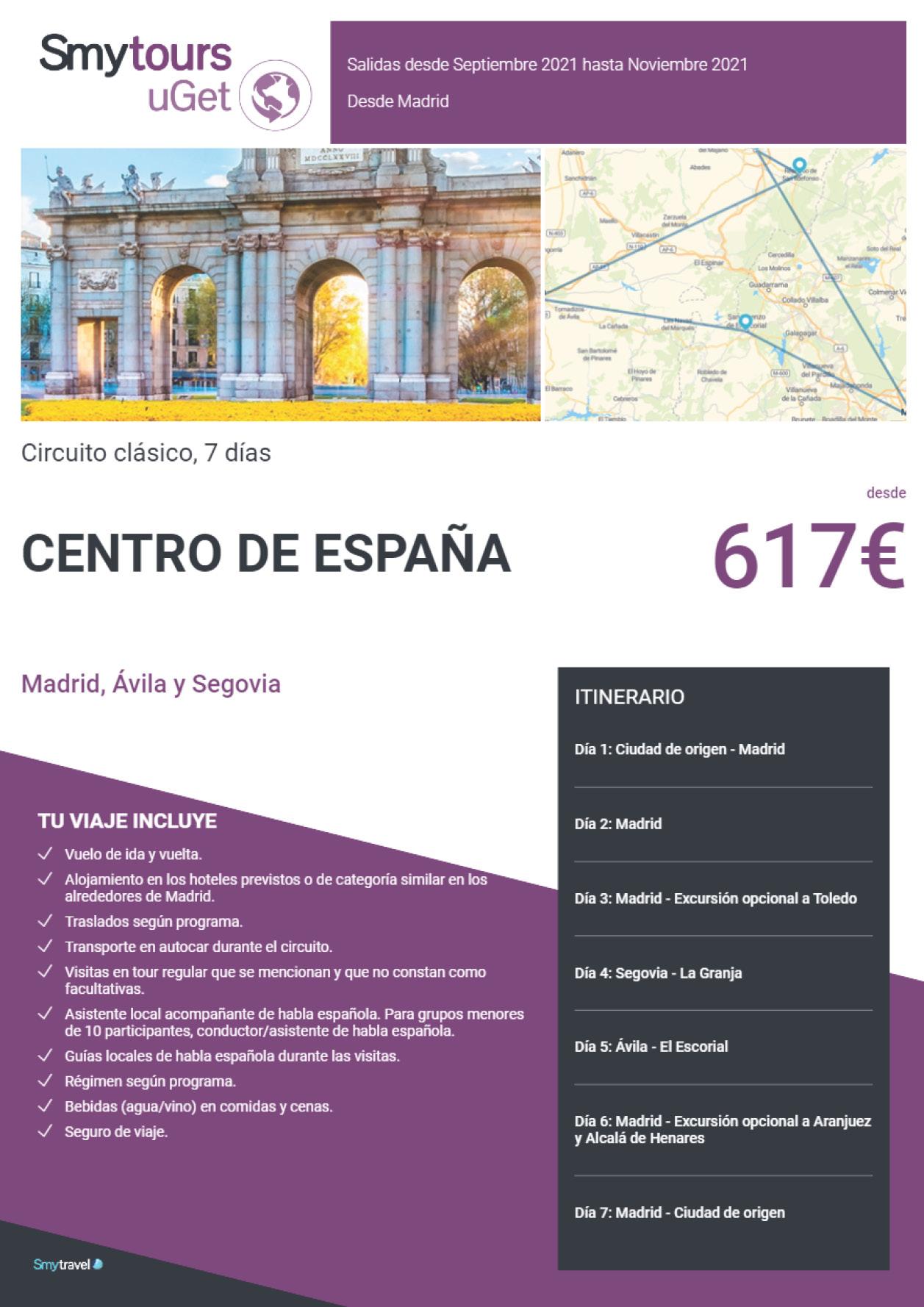 Oferta Smytravel Circuito Madrid Avila y Segovia 7 dias salidas desde Barcelona desde 714 €