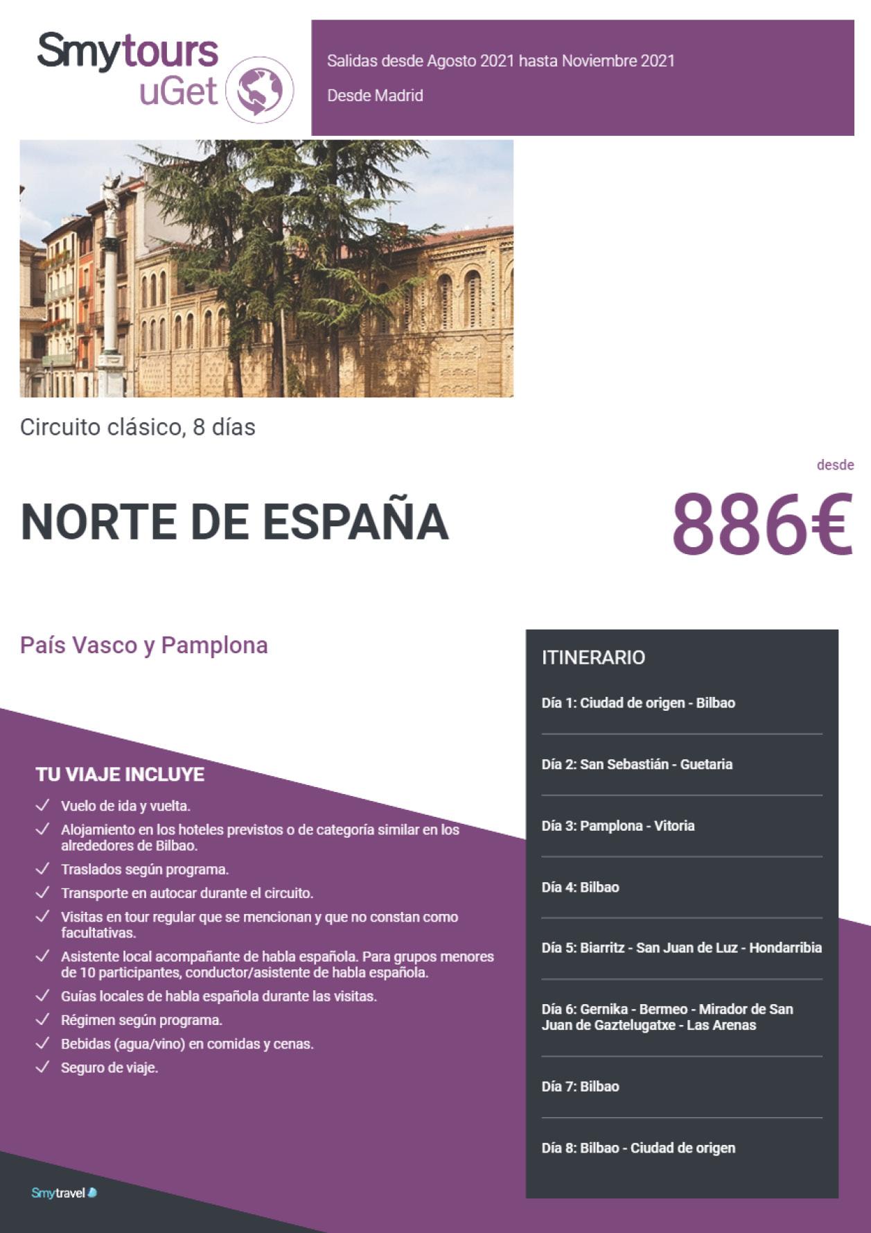 Oferta Smytravel Circuito Pais Vasco y Pamplona 8 dias salidas Madrid desde 886 €