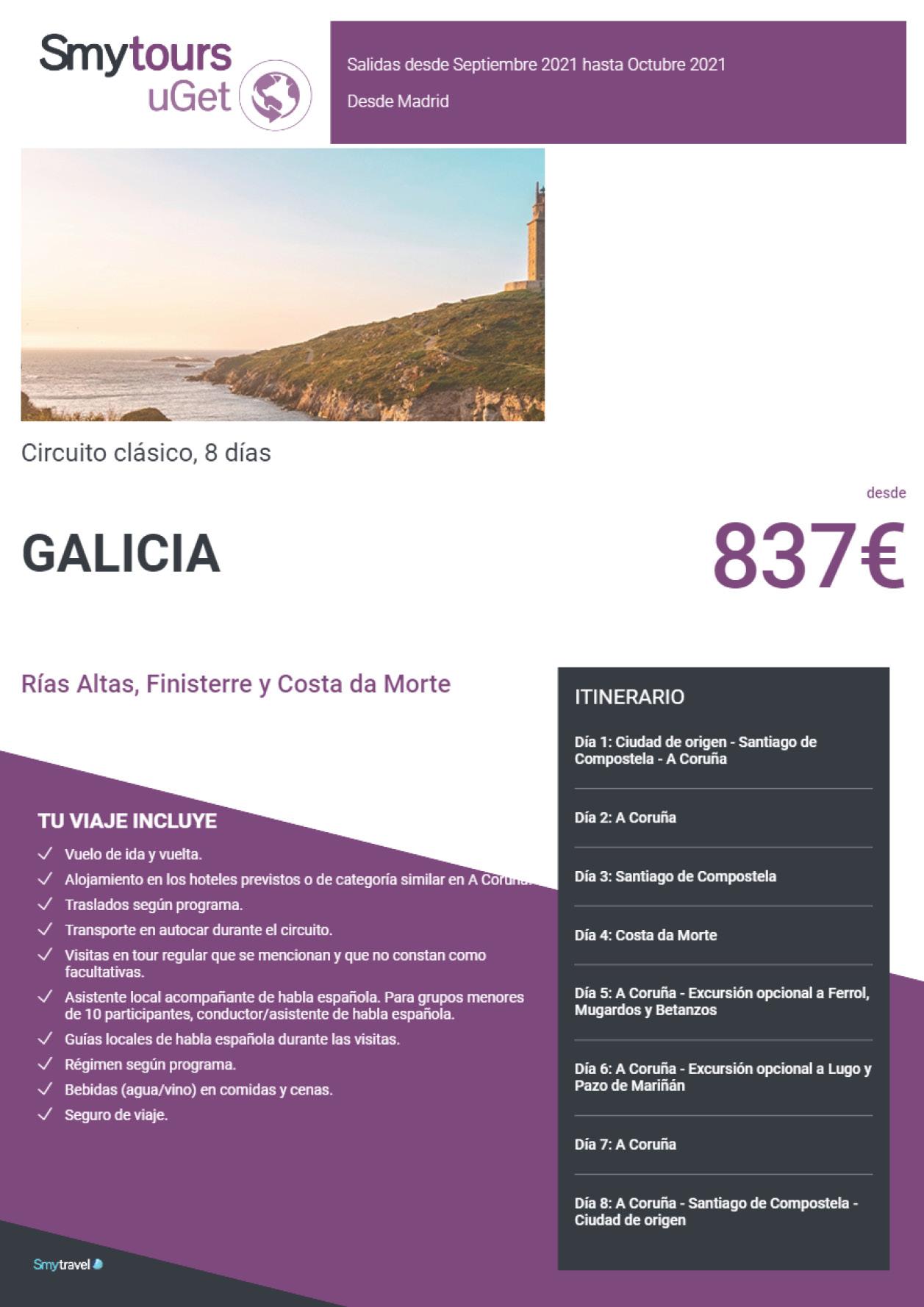 Oferta Smytravel Circuito Rías Altas Finisterre y Costa da Morte 8 dias salidas Madrid desde 837 €