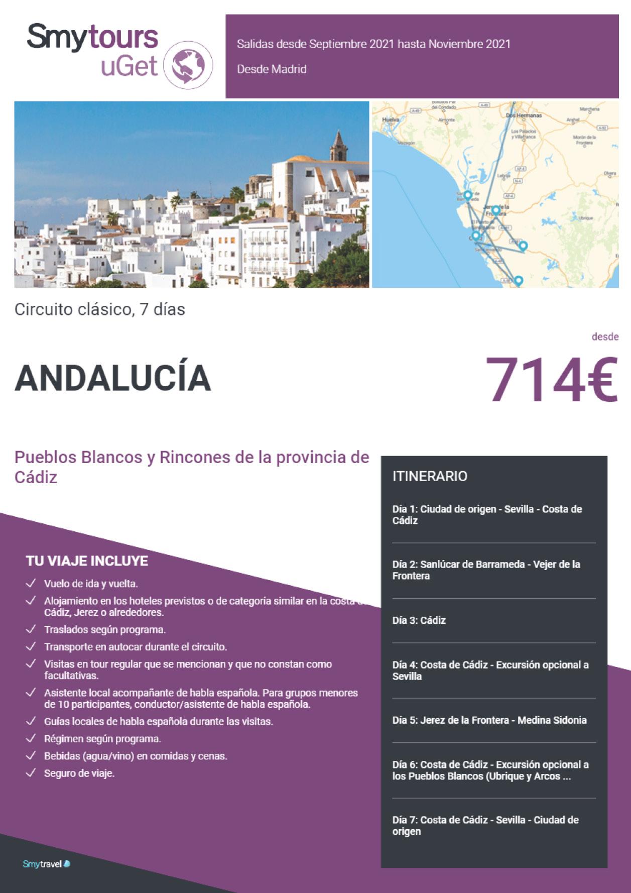 Oferta Smytravel Circuito Rías Pueblos Blancos y Rincones de Cadiz 7 dias salidas Madrid desde 714 €