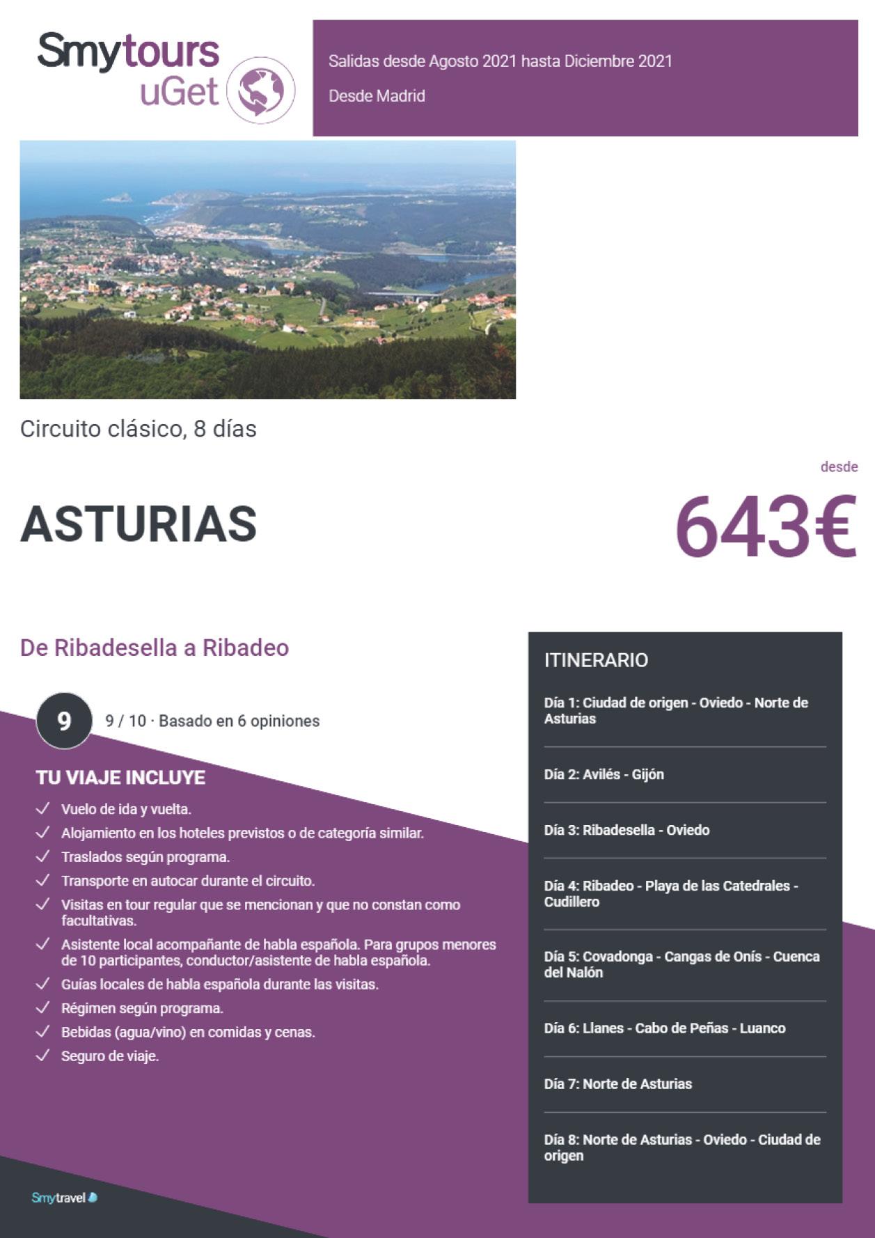Oferta Smytravel Circuito de Ribadeo a Ribadesella 8 dias salidas Madrid desde 643 €