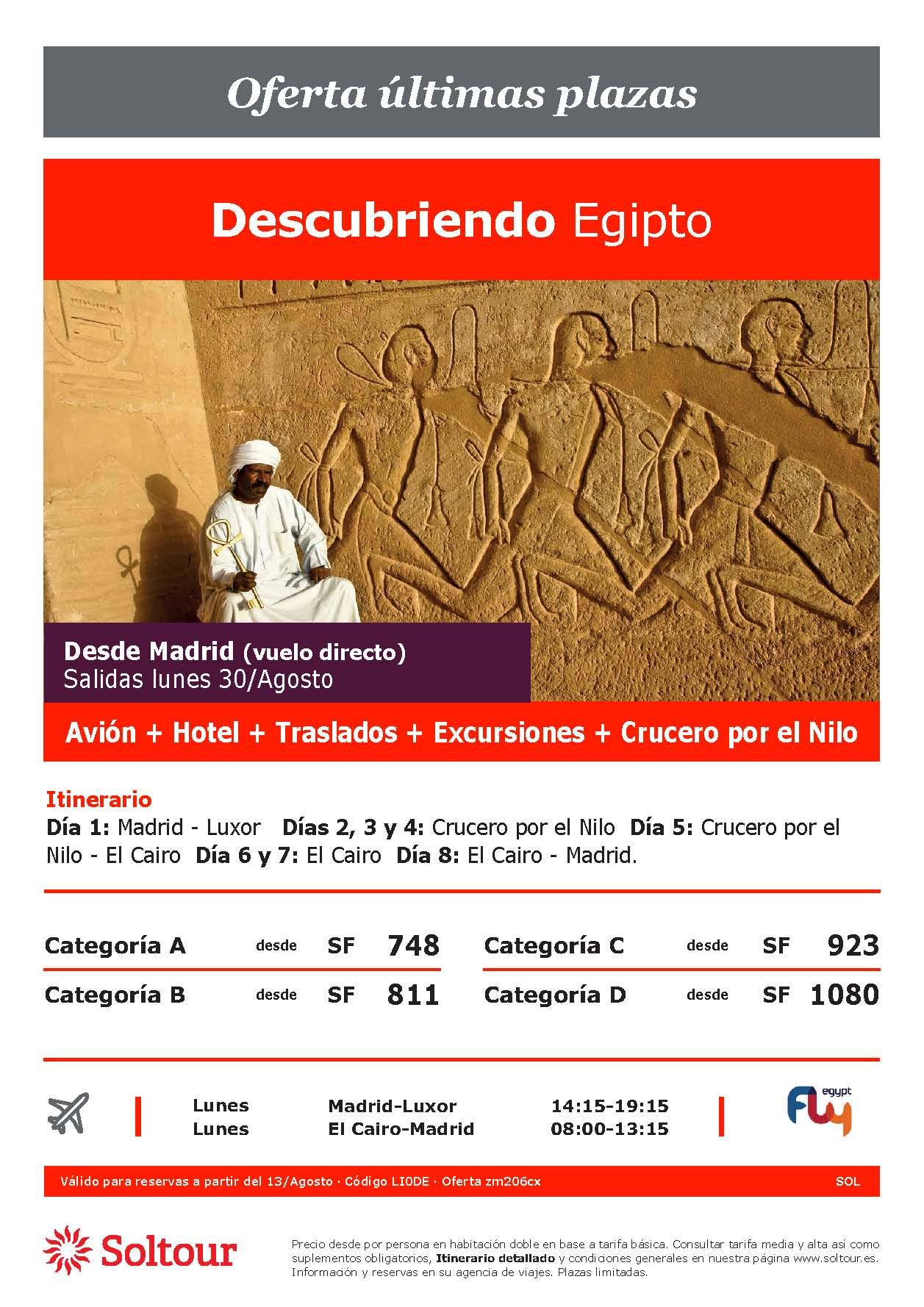 Oferta Soltour Ultima Hora Circuito Descubriendo Egipto en avion con crucero desde Madrid Verano 2021