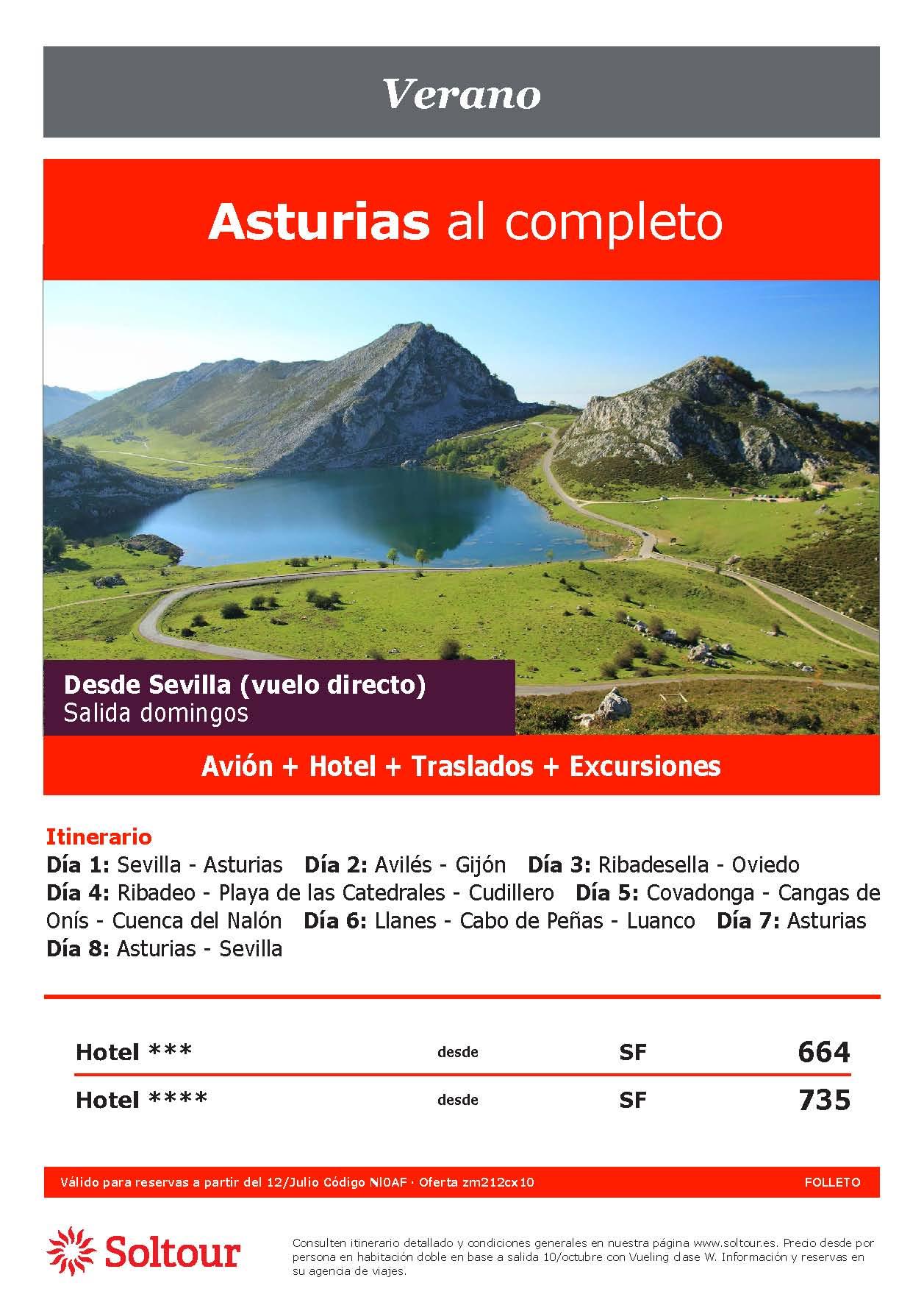 Oferta Soltour Ultima Hora Circuito en avion Asturias desde Sevilla Verano 2021