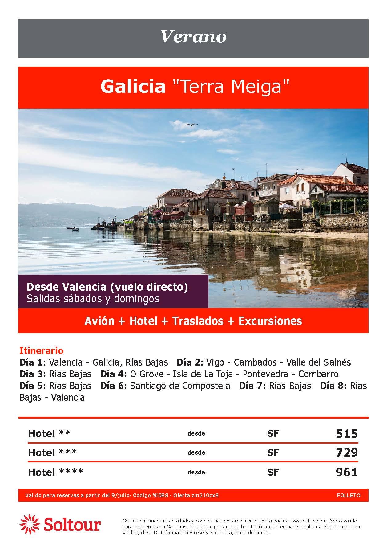 Oferta Soltour Ultima Hora Circuito por Galicia en avion desde Valencia Verano 2021