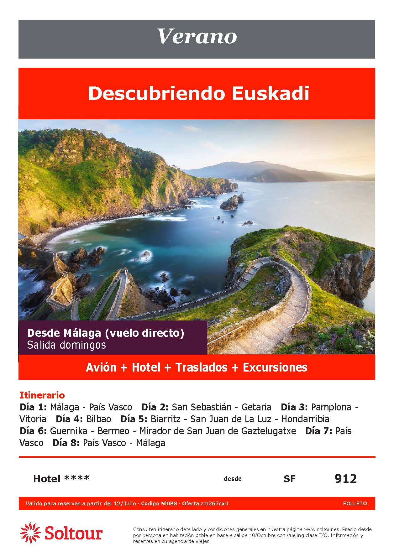 Oferta Soltour Ultima Hora Circuito por Pais Vasco en avion desde Malaga Verano 2021