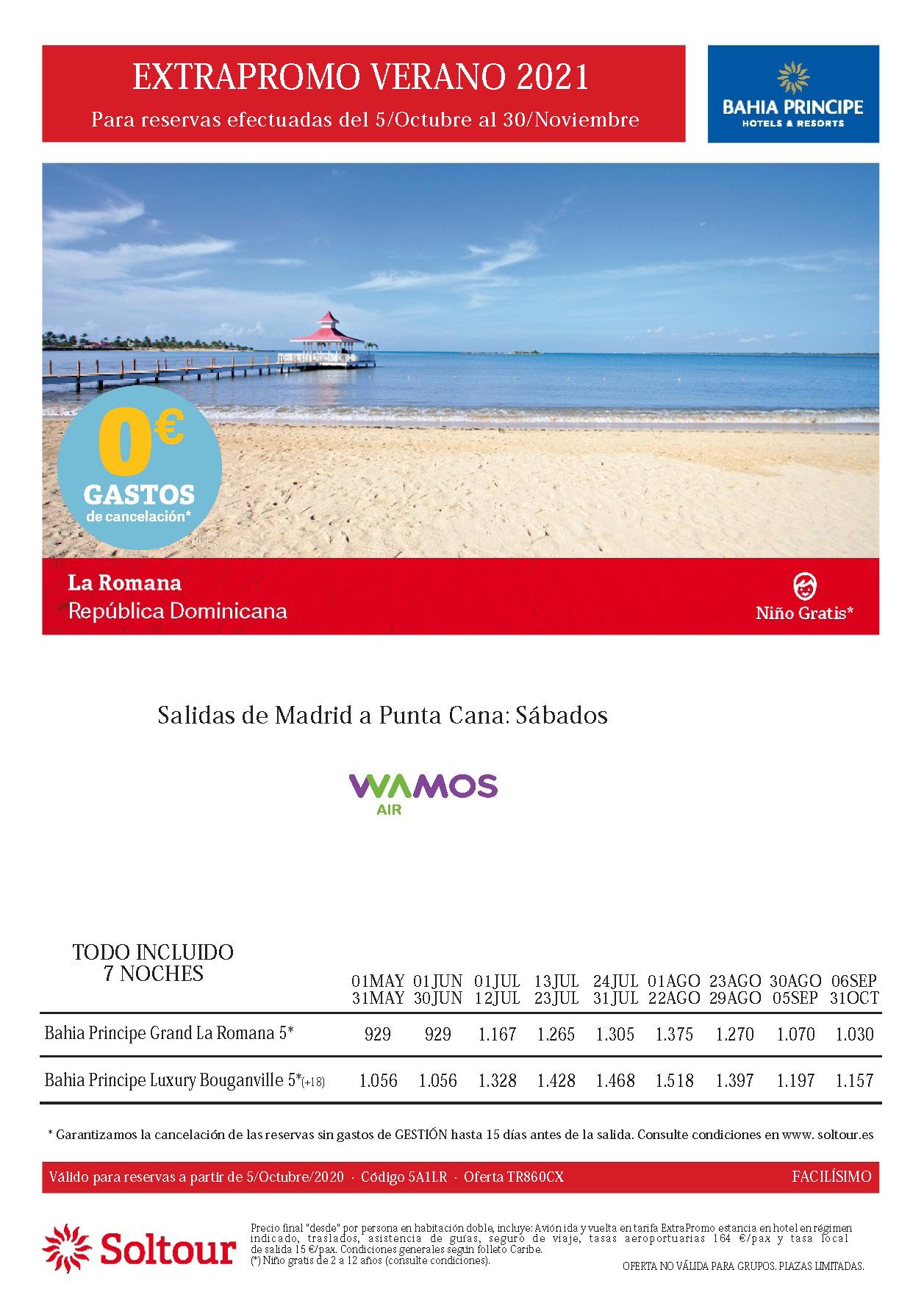 Oferta Soltour Vacaciones en La Romana Republica Dominicana hoteles Bahia Principe Verano 2021 niño gratis
