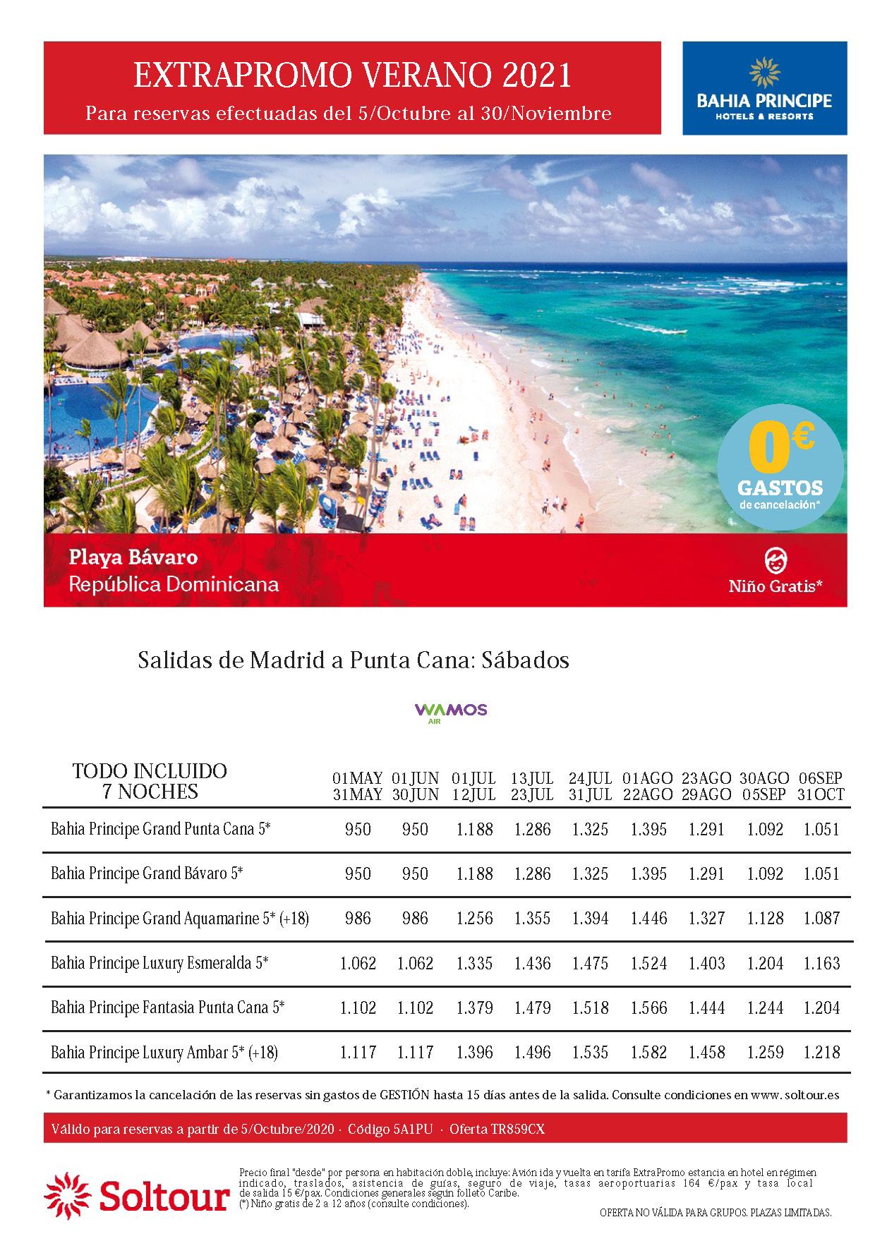 Oferta Soltour Vacaciones en Playa Bavaro Republica Dominicana hoteles Bahia Principe Verano 2021 niño gratis