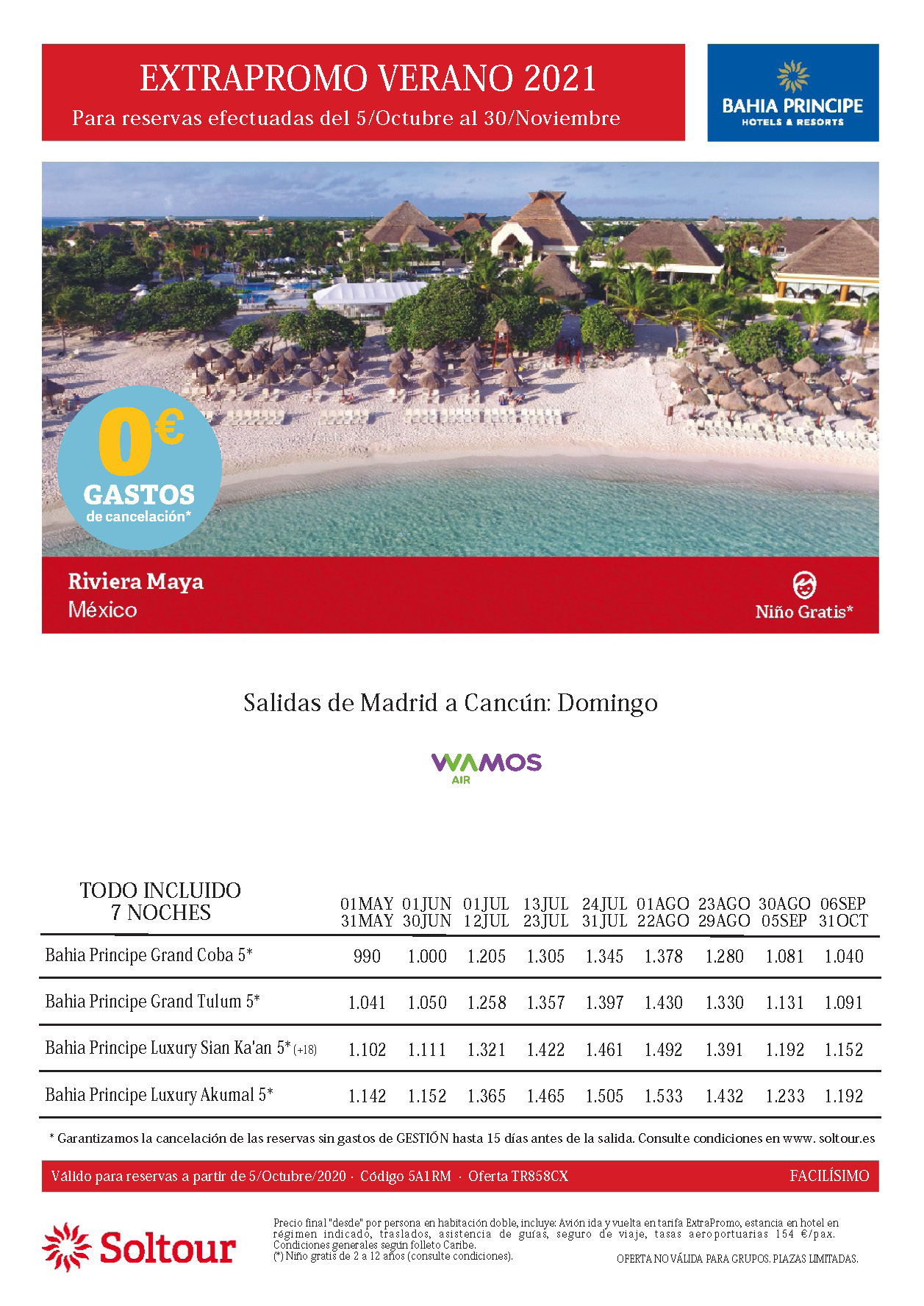 Oferta Soltour Vacaciones en la Riviera Maya hoteles Bahia Principe Verano 2021 niño gratis