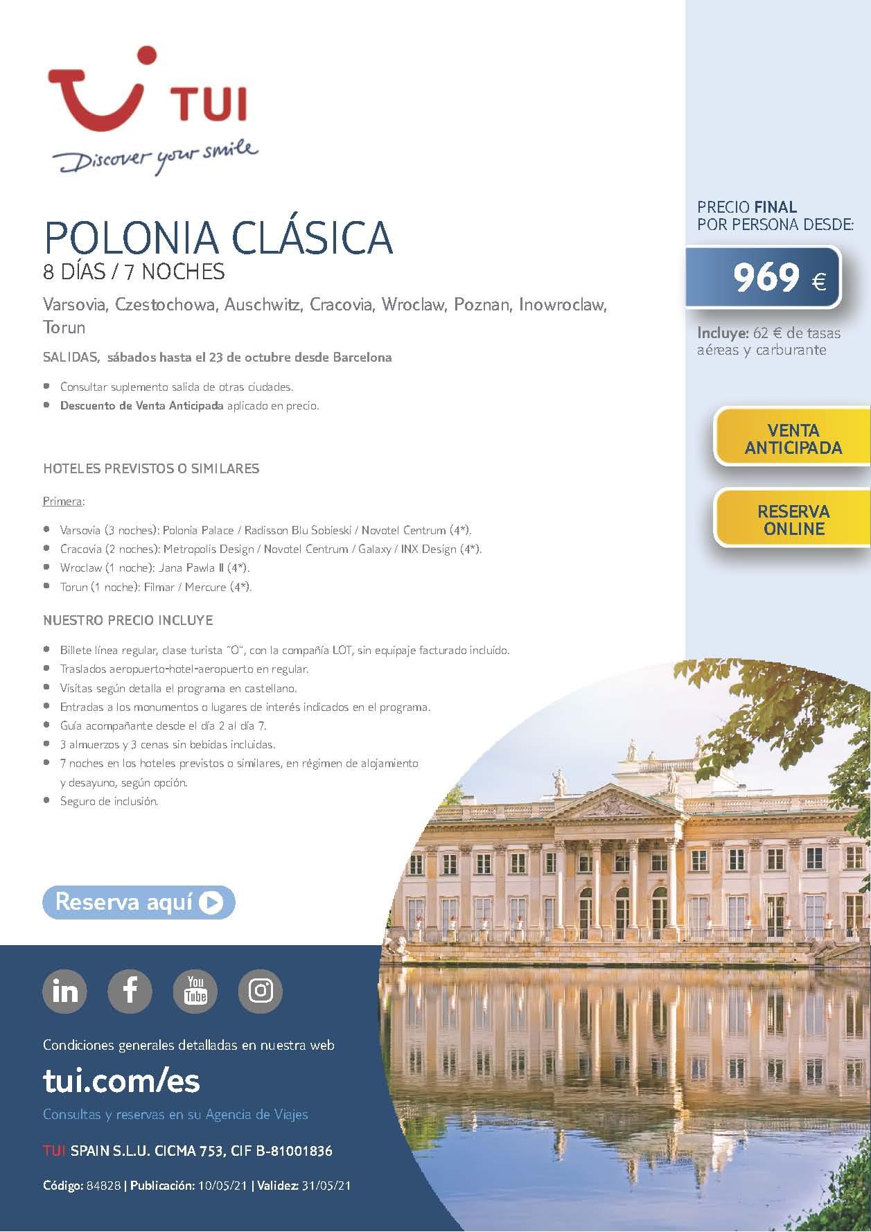 Oferta TUI Circuito Polonia Clasica Verano 2021