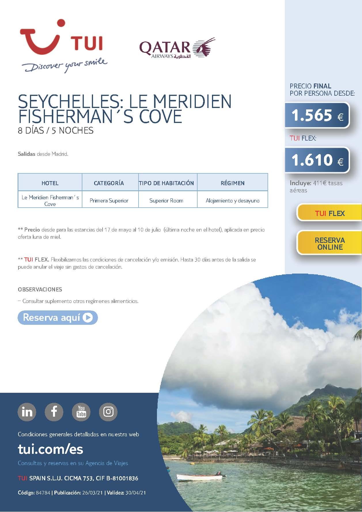 Oferta TUI Mayo a Julio 2021 Estancia en Seychelles