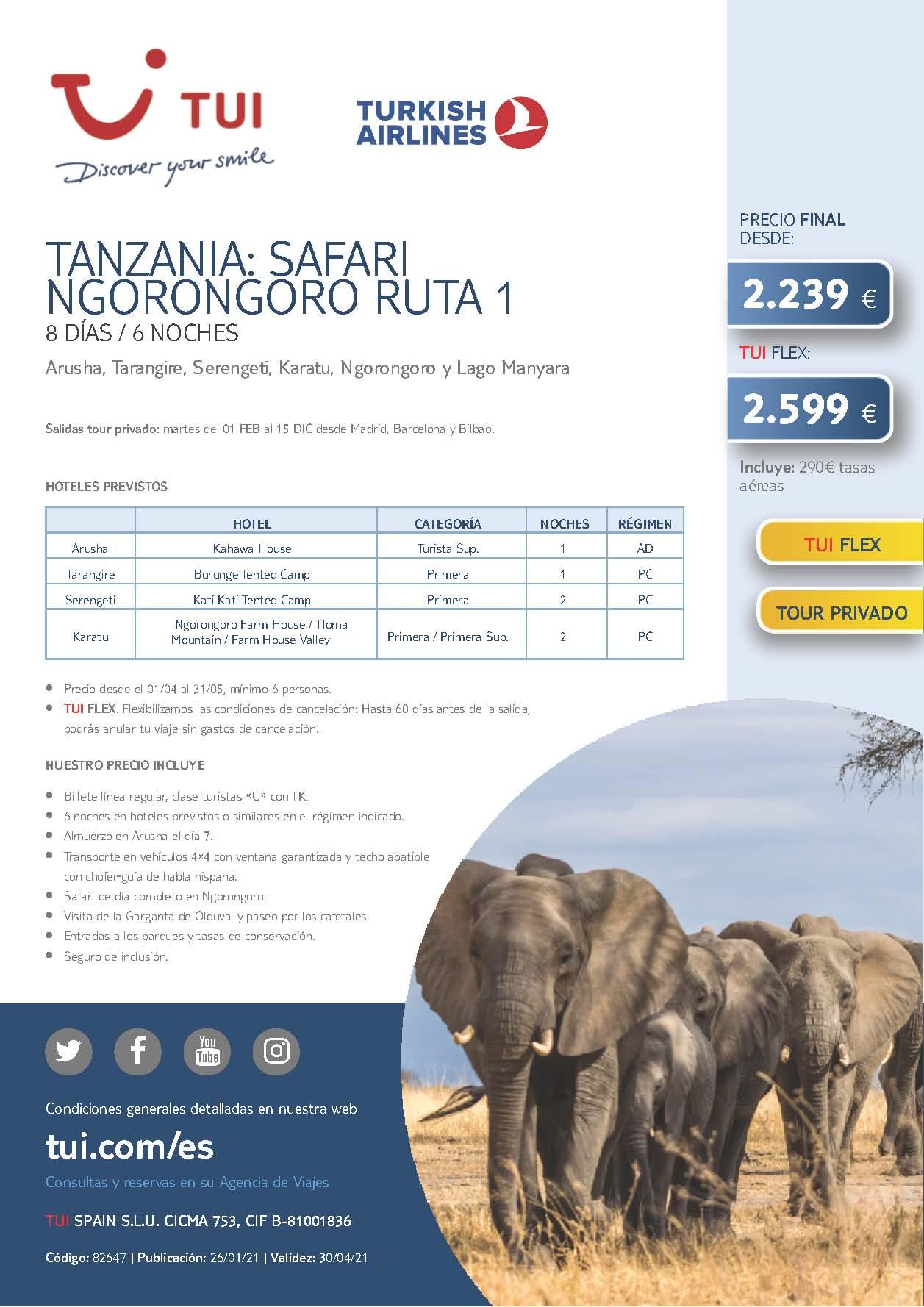 Oferta TUI Verano 2021 Tanzania Safari Ngorongoro Ruta 1